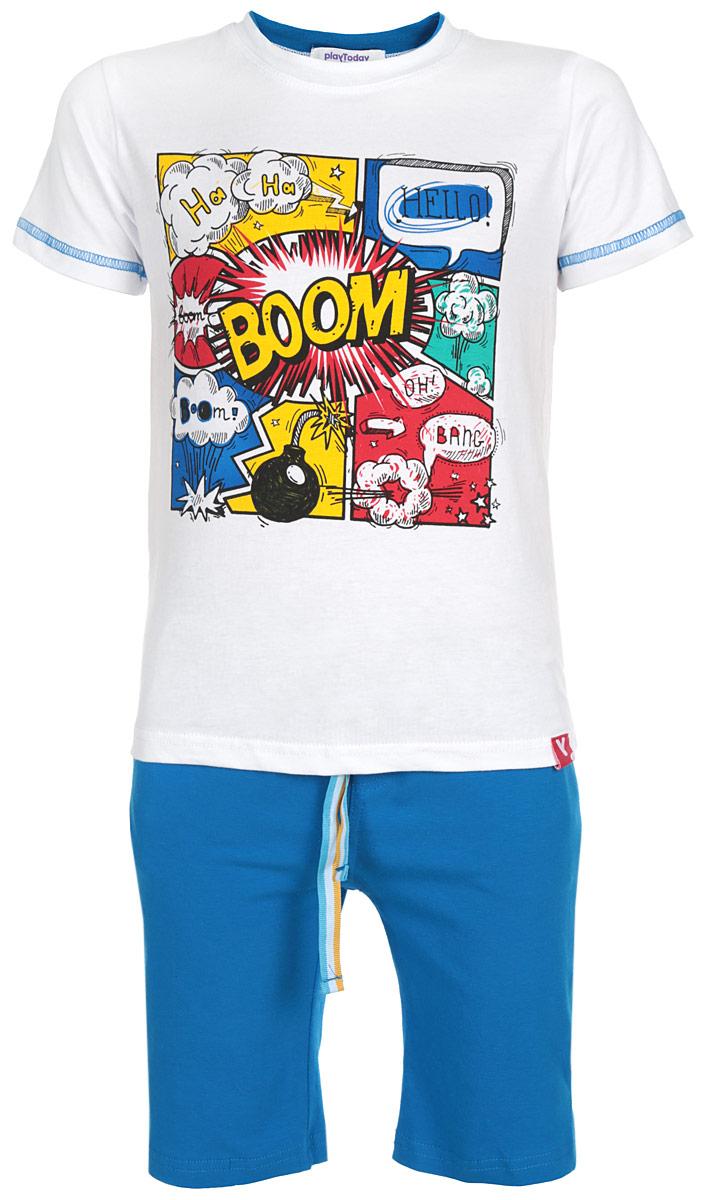 Комплект для мальчика PlayToday: футболка, шорты, цвет: белый, синий. 161074. Размер 122, 7 лет161074Комплект для мальчика PlayToday, состоящий из футболки и шорт, идеально подойдет вашему ребенку. Изготовленный из эластичного хлопка, он необычайно мягкий и приятный на ощупь, не сковывает движения и позволяет коже дышать, не раздражает даже самую нежную и чувствительную кожу ребенка, обеспечивая ему наибольший комфорт. Футболка с короткими рукавами и круглым вырезом горловины оформлена веселым ярким принтом. Вырез горловины дополнен двойной трикотажной эластичной резинкой. Рукава декорированы контрастной отстрочкой.Шорты удлиненные на талии имеют эластичную резинку с цветным затягивающимся шнурком снаружи, благодаря чему они не сдавливают живот ребенка и не сползают. Шорты украшены имитацией ширинки, а по бокам предусмотрены функциональные прорезные карманы. Оригинальный дизайн и модная расцветка делают этот комплект незаменимым предметом детского гардероба. В нем вашему маленькому мужчине будет комфортно и уютно, и он всегда будет в центре внимания!
