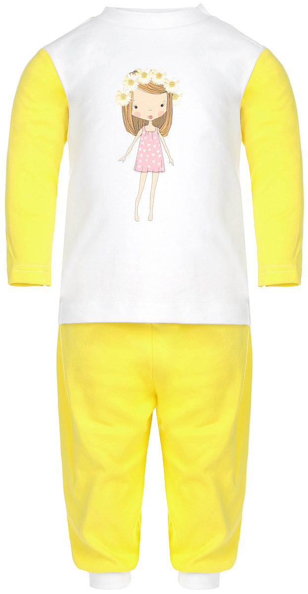 Пижама для девочки КотМарКот, цвет: лимонный, белый. 16162. Размер 104, 4 года16162Удобная пижама для девочки КотМарКот, состоящая из футболки с длинным рукавом и брюк, идеально подойдет вашему ребенку. Пижама выполнена из натурального хлопка, она необычайно мягкая и приятная на ощупь, не сковывает движения и позволяет коже дышать, не раздражает даже самую нежную и чувствительную кожу ребенка, обеспечивая ему наибольший комфорт. Футболка с длинными рукавами и круглым вырезом горловины оформлена изображением очаровательной девочки с цветочным венком на голове и украшена блеском. Футболка на плече застегивается на металлические кнопки, что позволяет с легкостью переодеть ребёнка. Вырез горловины дополнен эластичной резинкой. Брюки прямого кроя на поясе имеют широкую эластичную резинку, благодаря чему они не сдавливают животик ребенка и не сползают. Низ брючин дополнен широкими эластичными манжетами.Пижама станет отличным дополнением к гардеробу маленькой принцессы, в ней ваш ребенок будет чувствовать себя комфортно и уютно во время сна.