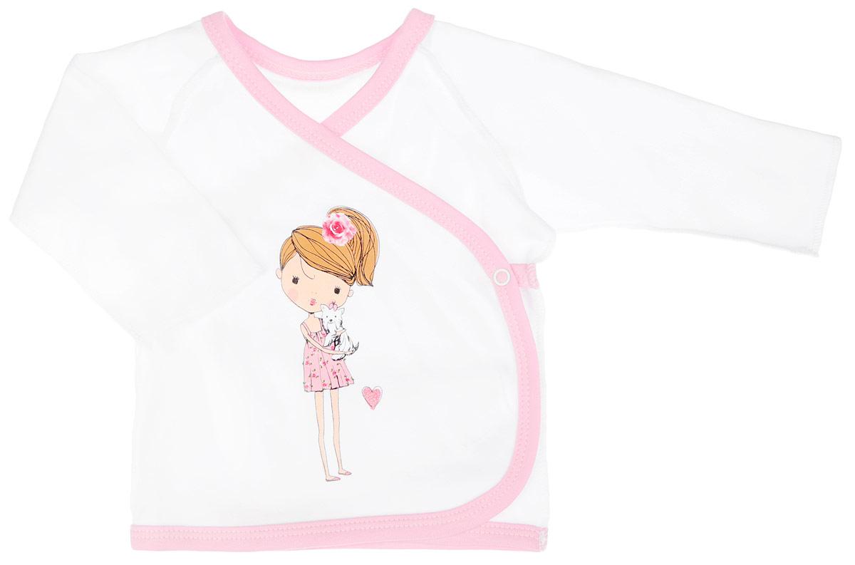 Распашонка-кимоно для девочки КотМарКот, цвет: белый, светло-розовый. 4163. Размер 68, 3-6 месяцев4163Распашонка-кимоно для девочки КотМарКот послужит идеальным дополнением к гардеробу вашей крохи, обеспечивая ей наибольший комфорт. Распашонка, выполненная швами наружу, изготовлена из натурального хлопка - интерлока, благодаря чему она необычайно мягкая и легкая, не раздражает нежную кожу ребенка и хорошо вентилируется, а эластичные швы приятны телу младенца и не препятствуют его движениям. Распашонка-кимоно с длинными рукавами-реглан оформлена изображением очаровательной девочки с собачкой на руках, дополнена блёстками. Благодаря системе застежек-кнопок по принципу кимоно модель можно полностью расстегнуть.Распашонка полностью соответствует особенностям жизни ребенка в ранний период, не стесняя и не ограничивая его в движениях. В ней ваша малышка всегда будет в центре внимания.
