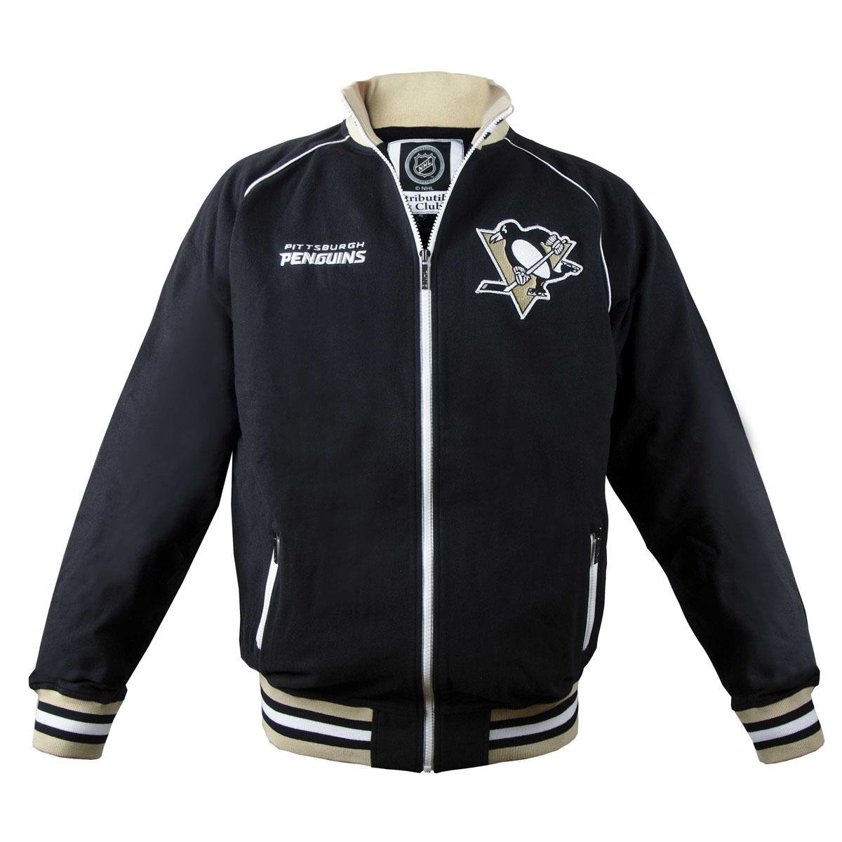 Толстовка мужская NHL Pittsburgh Penguins, цвет: черный. 35560. Размер XS (44)35560Мужская толстовка NHL Pittsburgh Penguins, изготовленная из натурального хлопка, очень мягкая и приятная наощупь, не сковывает движения, обеспечивая наибольший комфорт.Толстовка с небольшим воротником-стойкой и длинными рукавами-реглан застегивается на молнию по всей длине. Снизу модели предусмотрена широкая мягкая резинка, которая предотвращает проникновение холодного воздуха.Рукава дополнены эластичными манжетами. Резинка, воротник и манжеты оформлены контрастными полосками. Спереди расположены два прорезных кармана на застежках-молниях. Изделиеоформлено вышивкой с названием хоккейного клуба Pittsburgh Penguins и аппликацией с его эмблемой.Стильная толстовка подарит вам комфорт и станет отличным дополнением к вашему гардеробу.