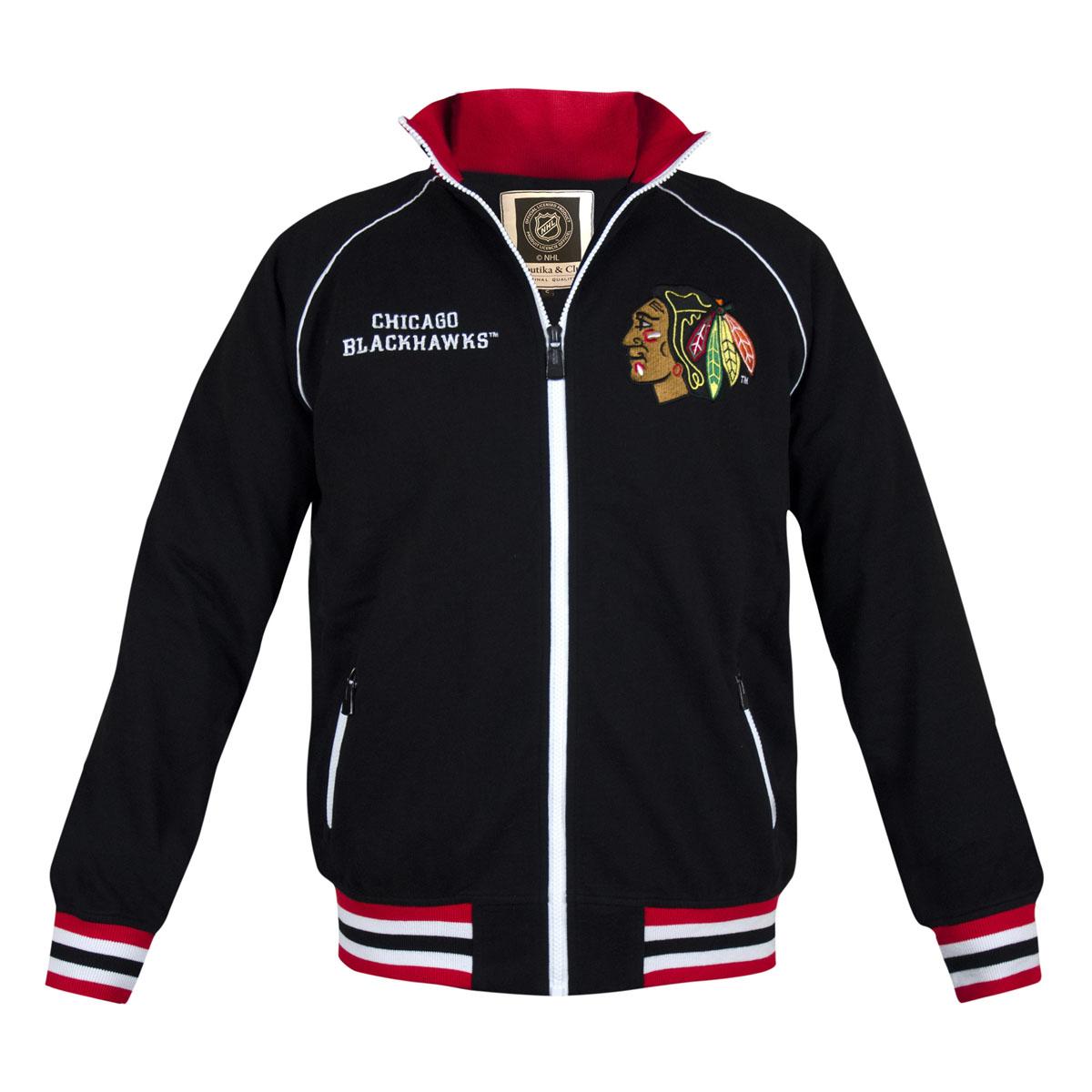 Толстовка мужская NHL Chicago Blackhawks, цвет: черный. 35570. Размер M (48)35570Мужская толстовка NHL Chicago Blackhawks, изготовленная из натурального хлопка, очень мягкая и приятная наощупь, не сковывает движения, обеспечивая наибольший комфорт.Толстовка с небольшим воротником-стойкой и длинными рукавами-реглан застегивается на молнию по всей длине. Снизумодели предусмотрена широкая мягкая резинка, которая предотвращает проникновение холодного воздуха.Рукава дополнены эластичными манжетами. Воротник, резинка и манжеты выполнены трикотажной резинкой с контрастными полосками. Спереди расположены два прорезных кармана на застежках-молниях. Изделиеоформлено вышивкой с названием хоккейного клуба Chicago Blackhawks и аппликацией с его эмблемой.Стильная толстовка подарит вам комфорт и станет отличным дополнением к вашему гардеробу.