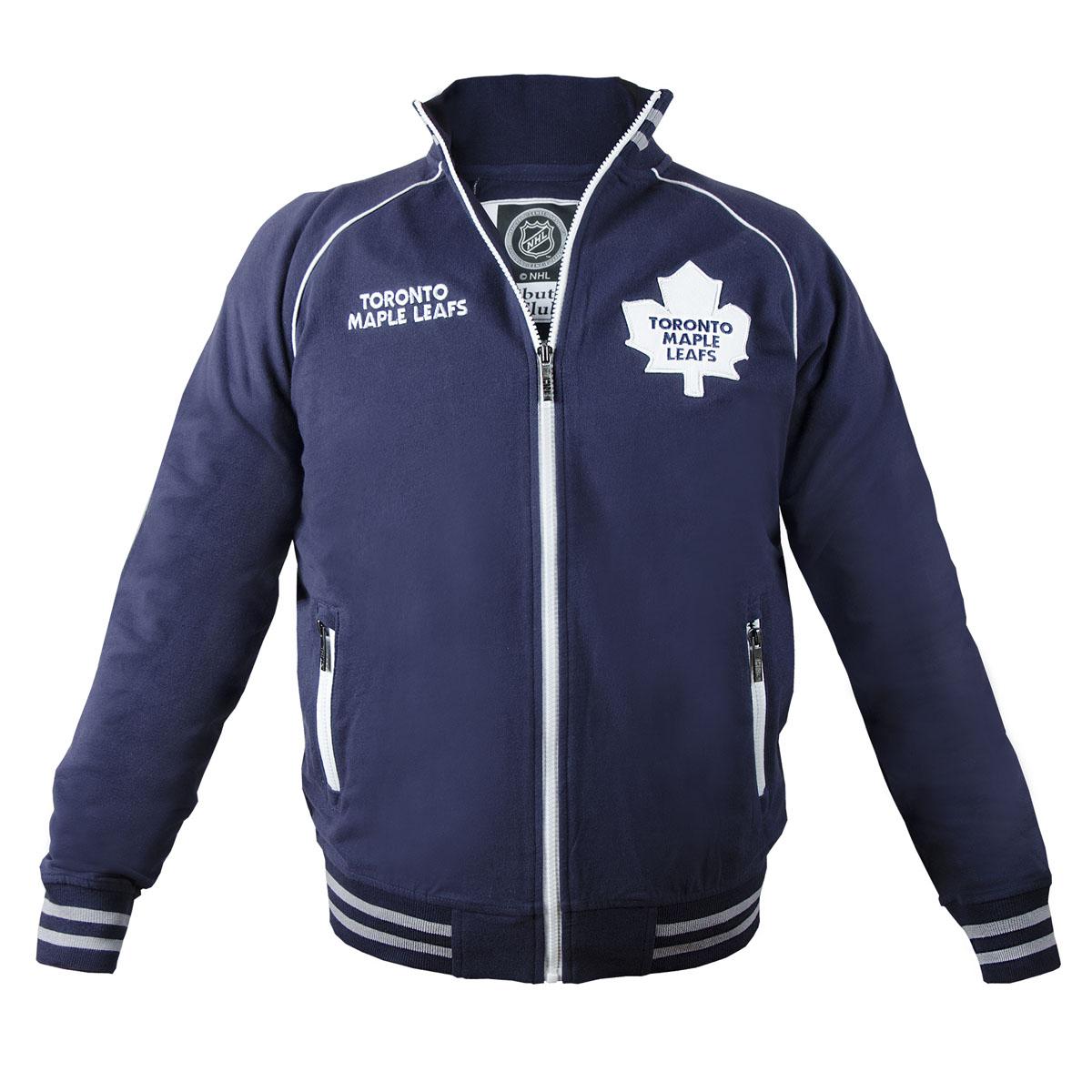 Толстовка мужская NHL Toronto Maple Leafs, цвет: темно-синий. 35580. Размер XS (44)35580Мужская толстовка NHL Toronto Maple Leafs, изготовленная из натурального хлопка, очень мягкая и приятная наощупь, не сковывает движения, обеспечивая наибольший комфорт.Толстовка с небольшим воротником-стойкой и длинными рукавами-реглан застегивается на молнию по всей длине. Снизумодели предусмотрена широкая мягкая резинка, которая предотвращает проникновение холодного воздуха.Рукава дополнены эластичными манжетами. Спереди расположены два прорезных кармана на застежках-молниях. Изделие декорировано вышивкой с названием хоккейного клуба Toronto Maple Leafs и аппликацией с его эмблемой. Резинка, воротник и манжеты оформлены контрастными полосками.Стильная толстовка подарит вам комфорт и станет отличным дополнением к вашему гардеробу.