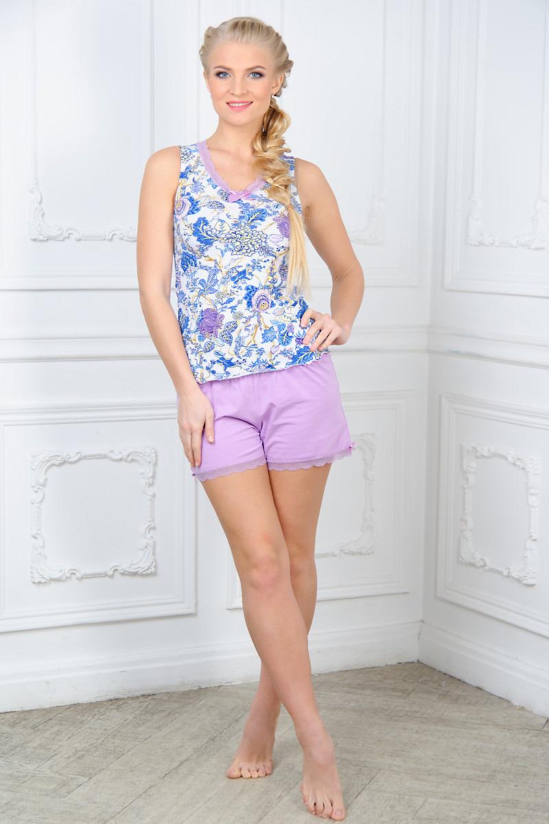 Пижама женская Mia Cara: майка, шорты, цвет: сиреневый. AW15-UAT-LST-281. Размер 42/44AW15-UAT-LST-281Женская пижама Mia Cara, состоящая из майки и шорт, идеально подойдет для отдыха и сна. Модель выполнена из высококачественного хлопка с добавлением эластана, очень мягкая на ощупь, не сковывает движения, хорошо пропускает воздух. Майка с V-образным вырезом горловины оформлена цветочным принтом и надписями, дополнена кружевной оборкой и текстильным бантиком. Шорты с широкой эластичной резинкой в поясе понизу дополнены кружевной оборкой и бантиками по бокам.