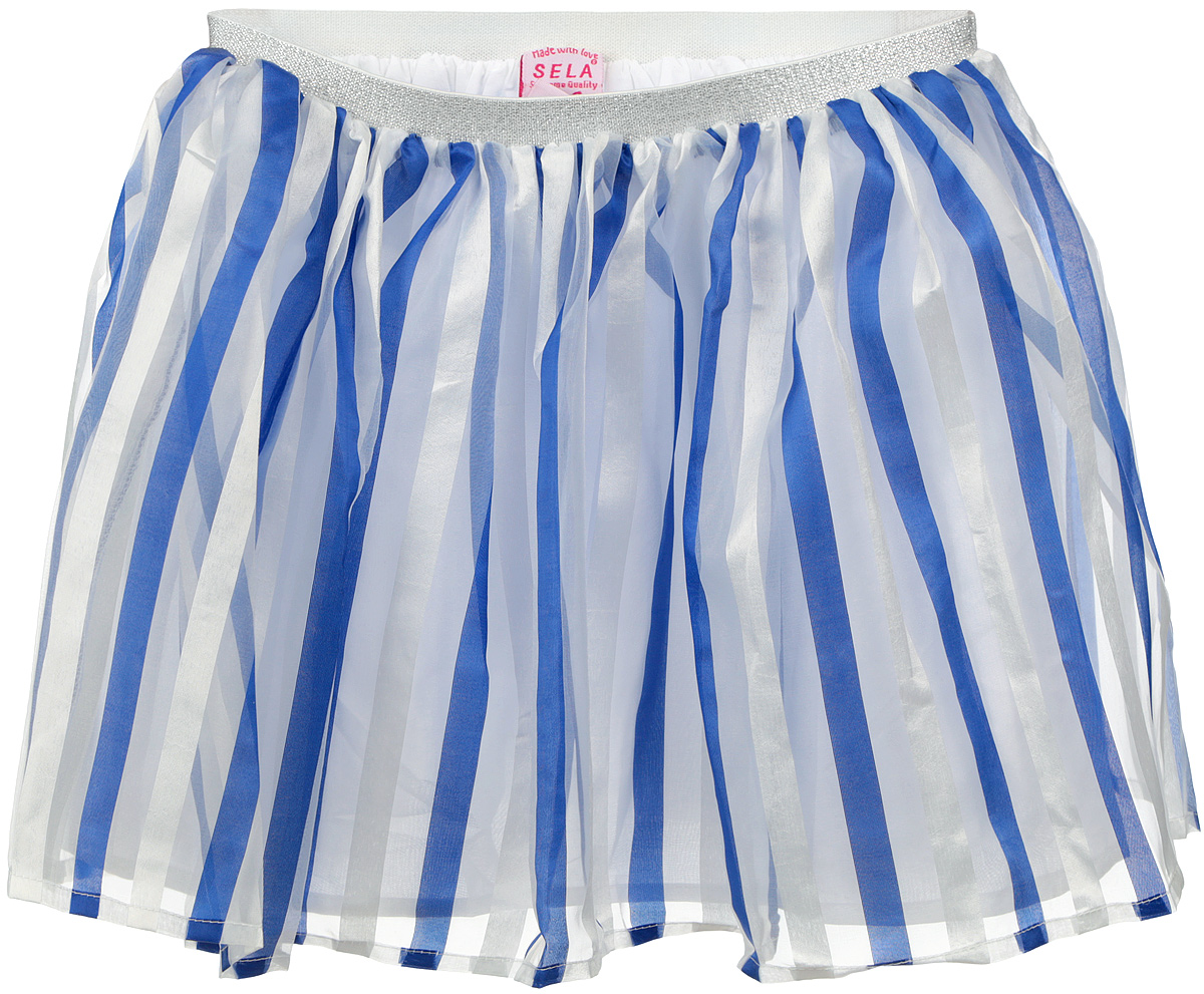 Юбка для девочки Sela, цвет: синий, белый. SK-518/031-6224. Размер 104, 4 годаSK-518/031-6224Пышная юбка для девочки Sela станет отличным дополнением к гардеробу маленькой модницы. Изготовленная из полиэстера на подкладке из натурального хлопка, она мягкая и приятная на ощупь, не сковывает движения и хорошо пропускает воздух.Благодаря мягкой эластичной резинке на поясе, юбка не сползает и не сдавливает животик ребенка. От линии талии заложены складочки, придающие изделию воздушность. Верх юбки выполнен из полупрозрачной ткани, оформленной полосками. Пояс украшен блестящей металлизированной нитью. В такой юбочке ваша маленькая принцесса всегда будет в центре внимания!