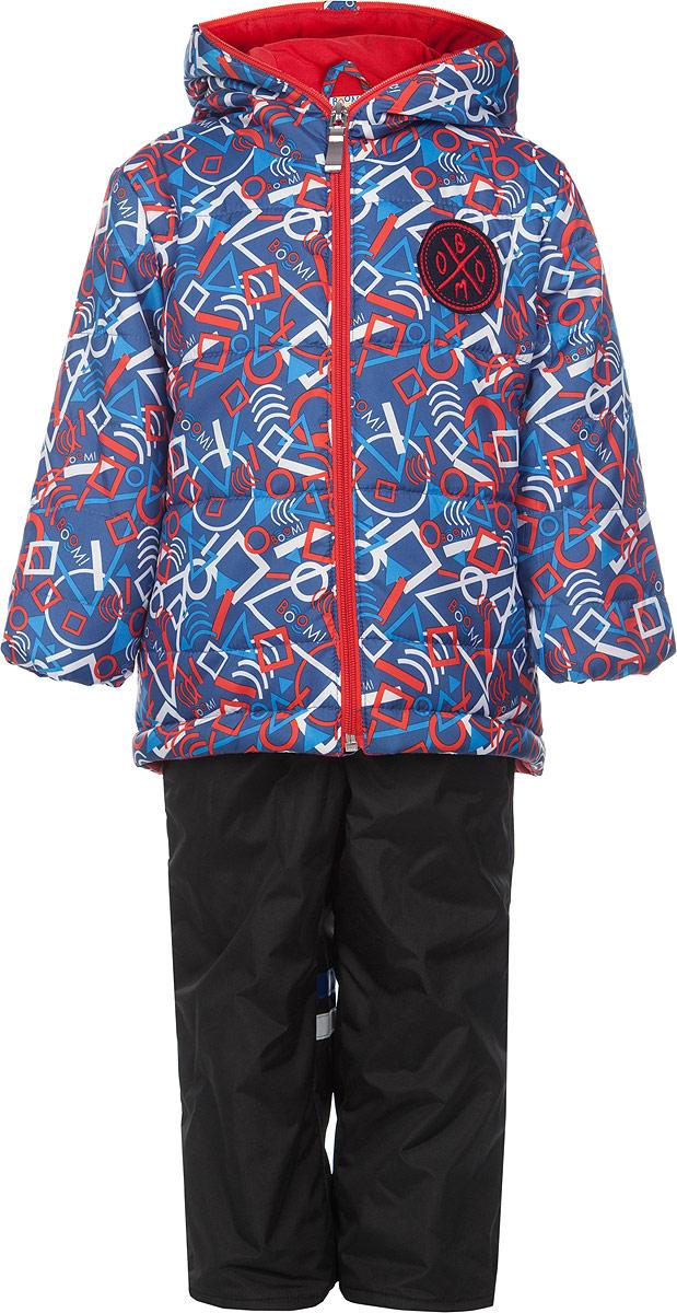 Комплект для мальчика Boom!: куртка, брюки, цвет: синий, красный, черный. 63634DM_BOB_вариант 2. Размер 74, 9 месяцев