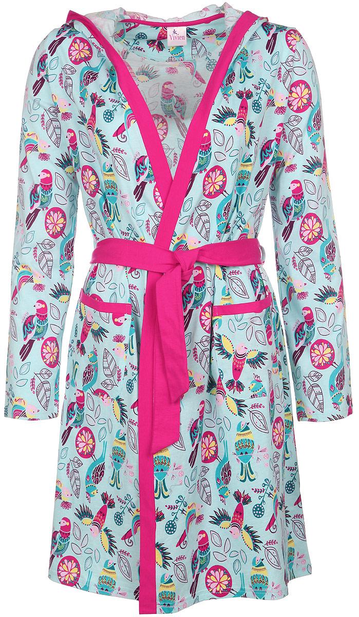 Халат женский Vivien, цвет: голубой, розовый, желтый, зеленый. AW15-UAT-LDG-456. Размер 44/46AW15-UAT-LDG-456Удобный и красивый халат Vivien, изготовленный из натурального хлопка, замечательно подходит в качестве домашней одежды. Модель с запахом имеет длинные рукава и на талии завязывается на поясок. Спереди изделие дополнено двумя накладными карманами. Халат оформлен оригинальным принтом и по краям дополнен контрастной трикотажной бейкой. Одежда, изготовленная из хлопка, приятна к телу, сохраняет тепло в холодное время года и дарит прохладу в теплое, позволяет коже дышать.Такой халат сделает ваш отдых комфортным и станет удачным дополнением гардероба.