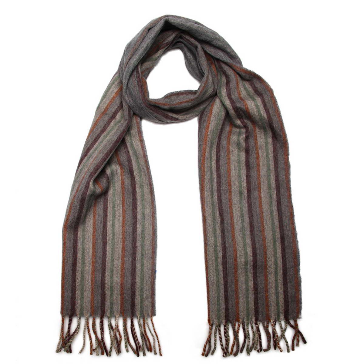 Шарф мужской Venera, цвет: серый, бежевый. 5001432-9. Размер 30 см х 160 см5001432-9Элегантный мужской шарф Venera согреет вас в холодное время года, а также станет изысканным аксессуаром, который призван подчеркнуть ваш стиль и индивидуальность. Оригинальный теплый шарф выполнен из высококачественной шерстяной пряжи. Шарф оформлен узором в узкую полоску и дополнен бахромой в виде жгутиков по краю.Такой шарф станет превосходным дополнением к любому наряду, защитит вас от ветра и холода и позволит вам создать свой неповторимый стиль.