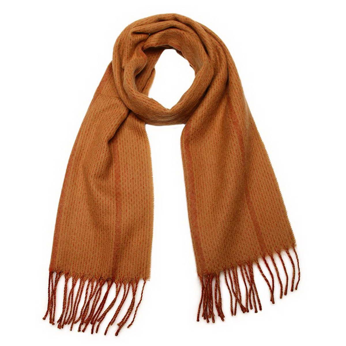 Шарф мужской Venera, цвет: бежевый, оранжевый. 5002532-2. Размер 30 см х 160 см5002532-2Элегантный мужской шарф Venera согреет вас в холодное время года, а также станет изысканным аксессуаром, который призван подчеркнуть ваш стиль и индивидуальность. Оригинальный теплый шарф выполнен из высококачественной шерстяной пряжи. Шарф оформлен узором в полоску различной ширины и дополнен жгутиками по краю.Такой шарф станет превосходным дополнением к любому наряду, защитит вас от ветра и холода и позволит вам создать свой неповторимый стиль.