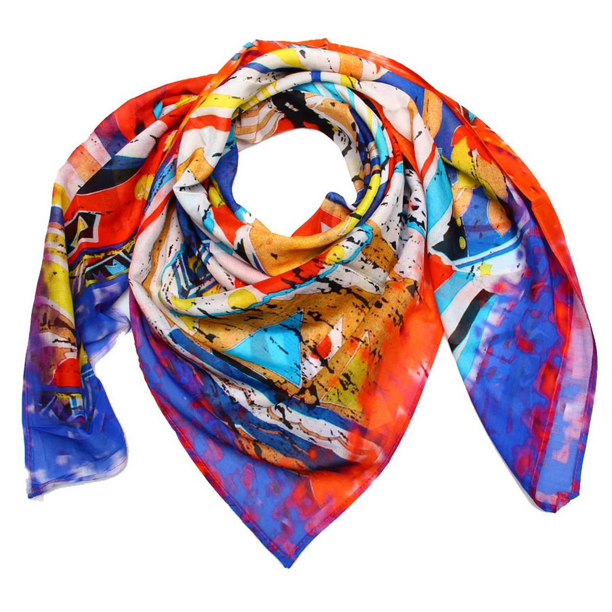 Платок женский Venera, цвет: красный, синий, желтый, белый. 5900941. Размер 100 см х 100 см5900941Стильный молодежный женский платок Venera изготовлен из шелка и хлопка безупречного качества. Такой платок станет неотъемлемым элементом вашего гардероба.Яркие, насыщенные цвета и забавный рисунок подчеркнут нестандартность и экстравагантность женского образа. Края платка обработаны машинной отстрочкой.Классическая квадратная форма позволяет носить платок на шее, украшать им прическу или декорировать сумочку.Платок Venera превосходно дополнит любой наряд и подчеркнет ваш неповторимый вкус.