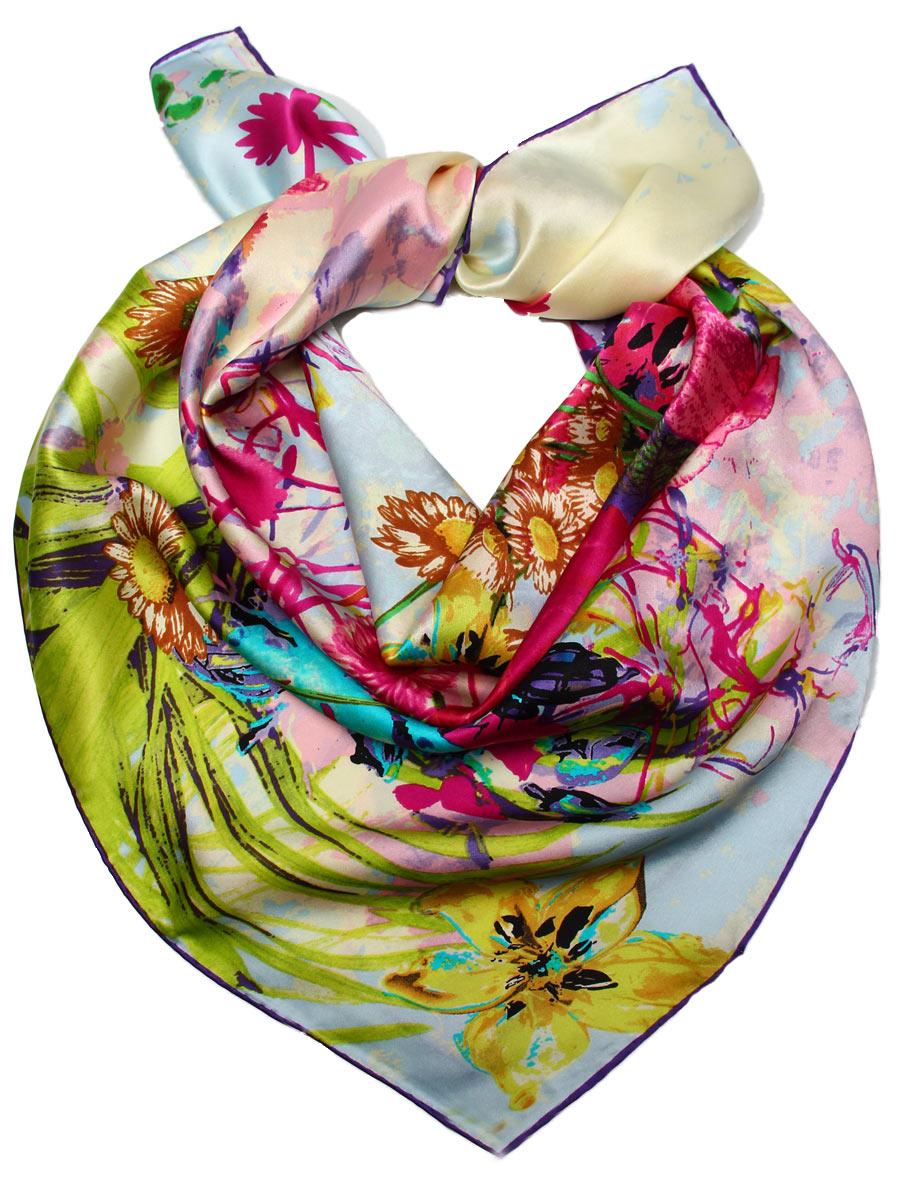 Платок женский Venera, цвет: фиолетовый, зеленый, голубой. 1810612-2. Размер 90 см х 90 см1810612-2Стильный женский платок Venera станет великолепным завершением любого наряда. Платок, изготовленный из 100% шелка, оформлен цветочным принтом.Классическая квадратная форма позволяет носить платок на шее, украшать им прическу или декорировать сумочку. Легкий и приятный на ощупь платок поможет вам создать изысканный женственный образ. Такой платок превосходно дополнит любой наряд и подчеркнет ваш неповторимый вкус и элегантность.