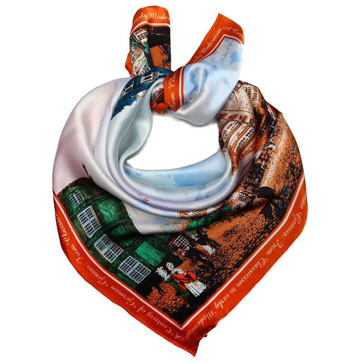 Платок женский Venera, цвет: синий, терракотовый, зеленый. 1810812-1. Размер 90 см х 90 см1810812-1Нежный шелковый платок Venera станет нарядным аксессуаром, который призван подчеркнуть индивидуальность и очарование женщины. Оригинальный дизайн полотна с изображением города придаст вашему образу хорошего настроения и привлечёт всеобщее внимание. Края платка качественно обработаны вручную.Этот модный аксессуар женского гардероба гармонично дополнит образ современной женщины, следящей за своим имиджем и стремящейся всегда оставаться стильной и элегантной.