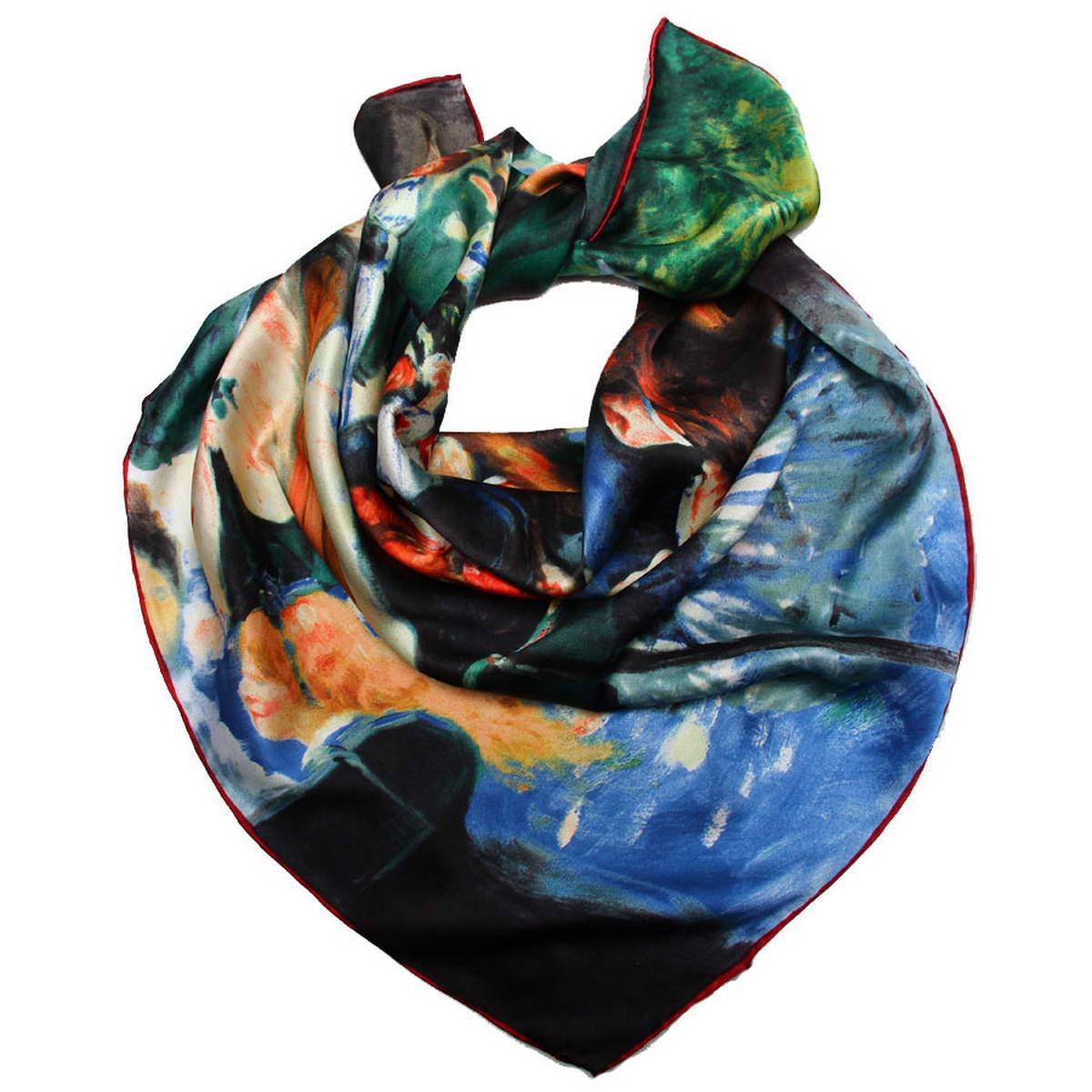 Платок женский Venera, цвет: синий, зеленый, мультиколор. 1810912-2. Размер 90 см х 90 см1810912-2Изысканный женский платок Venera изготовлен из натурального шелка. Такой платок станет неотъемлемым элементом вашего гардероба.Платок оформлен изображением картины Пьера Огюста Ренуара Бал в Мулен де ла Галетт. Края изделия обработаны вручную. С таким аксессуаром вы всегда будете смотреться неповторимо и элегантно.Классическая квадратная форма позволяет носить платок на шее, украшать им прическу или декорировать сумочку.Платок Venera превосходно дополнит любой наряд и подчеркнет ваш неповторимый вкус.
