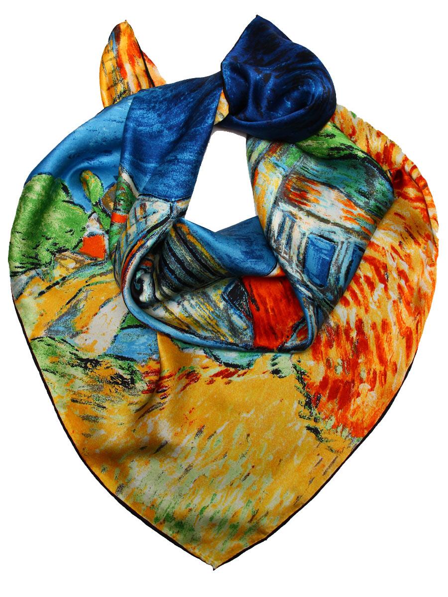 Платок женский Venera, цвет: синий, зеленый, желтый. 1810912-3. Размер 90 см х 90 см1810912-3Изысканный женский платок Venera изготовлен из натурального шелка. Такой платок станет неотъемлемым элементом вашего гардероба.Платок оформлен изображением картины Винсента Ван Гога - Церковь в Овере. Этот элегантный платок чудесно подойдет для аристократичной женщины, он подчеркнет ее чувство стиля и элегантность. Края изделия обработаны вручную. Классическая квадратная форма позволяет носить платок на шее, украшать им прическу или декорировать сумочку.Платок Venera превосходно дополнит любой наряд и подчеркнет ваш неповторимый вкус.