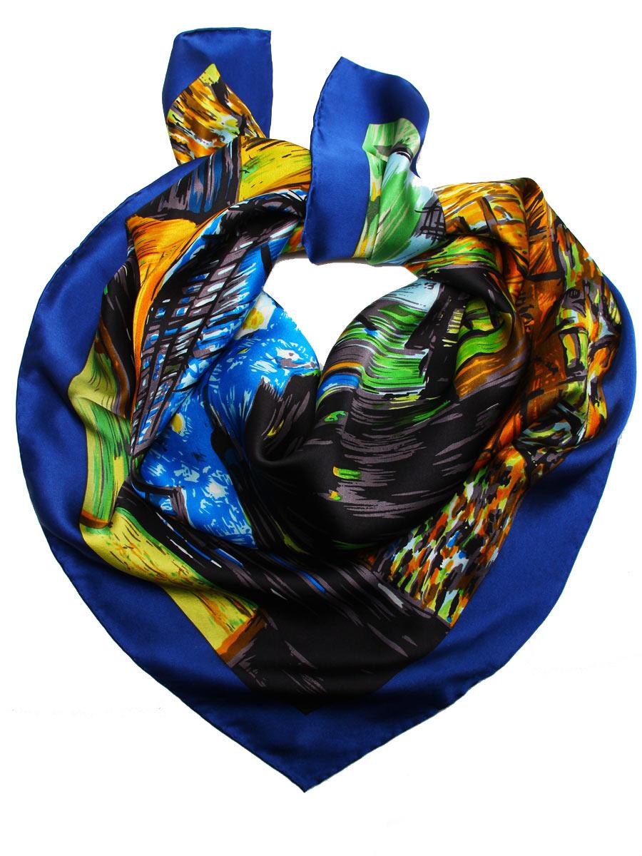 Платок женский Venera, цвет: синий, желтый, коричневый. 1810912-7. Размер 90 см х 90 см1810912-7Стильный женский платок Venera станет великолепным завершением любого наряда. Платок изготовлен из высококачественного 100% шелка и оформлен красочным принтом с изображением картины Ван Гога Ночное кафе в Арле.Классическая квадратная форма позволяет носить платок на шее, украшать им прическу или декорировать сумочку. Легкий, мягкий и шелковистый платок поможет вам создать изысканный женственный образ, а также согреет в непогоду. Такой платок превосходно дополнит любой наряд и подчеркнет ваш неповторимый вкус и элегантность.