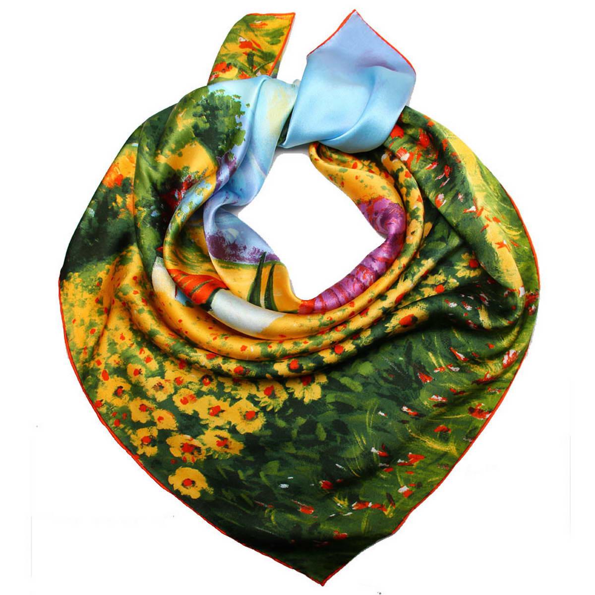 Платок женский Venera, цвет: голубой, желтый. 1810912-8. Размер 90 см х 90 см1810912-8Стильный женский платок Venera станет великолепным завершением любого наряда. Платок изготовлен из высококачественного 100% шелка и оформлен красочным принтом с изображением пасторального пейзажа.Классическая квадратная форма позволяет носить платок на шее, украшать им прическу или декорировать сумочку. Легкий, мягкий и шелковистый платок поможет вам создать изысканный женственный образ, а также согреет в непогоду. Такой платок превосходно дополнит любой наряд и подчеркнет ваш неповторимый вкус и элегантность.