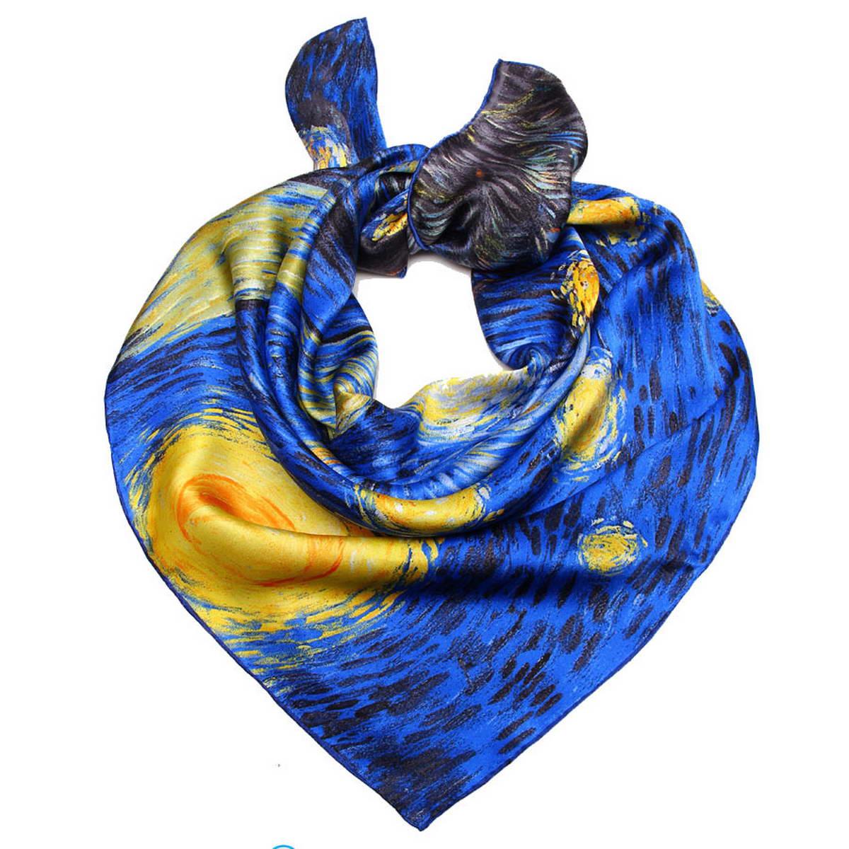 Платок женский Venera, цвет: синий, черный, зеленый. 1810912-10. Размер 90 см х 90 см1810912-10Стильный женский платок Venera станет великолепным завершением любого наряда. Платок изготовлен из 100% шелка и оформлен изображение картины Винсента Ван Гога Звездная ночь. Классическая квадратная форма позволяет носить платок на шее, украшать им прическу или декорировать сумочку. Легкий и приятный на ощупь платок поможет вам создать изысканный женственный образ. Такой платок превосходно дополнит любой наряд и подчеркнет ваш неповторимый вкус и элегантность.