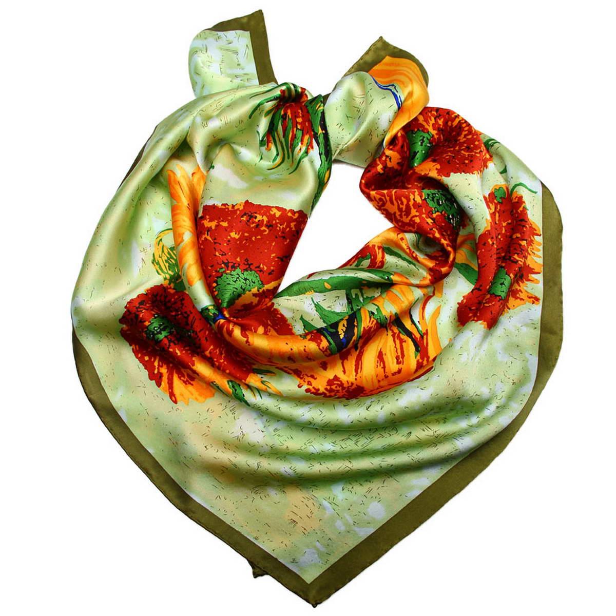 Платок женский Venera, цвет: зеленый, коричневый, оранжевый. 1810912-11. Размер 90 см х 90 см1810912-11Стильный женский платок Venera станет великолепным завершением любого наряда. Платок, изготовленный из 100% шелка, оформлен изображением картины Винсента Ван Гога Натюрморт с подсолнухами в вазе. Классическая квадратная форма позволяет носить платок на шее, украшать им прическу или декорировать сумочку. Легкий и приятный на ощупь платок поможет вам создать изысканный женственный образ. Такой платок превосходно дополнит любой наряд и подчеркнет ваш неповторимый вкус и элегантность.