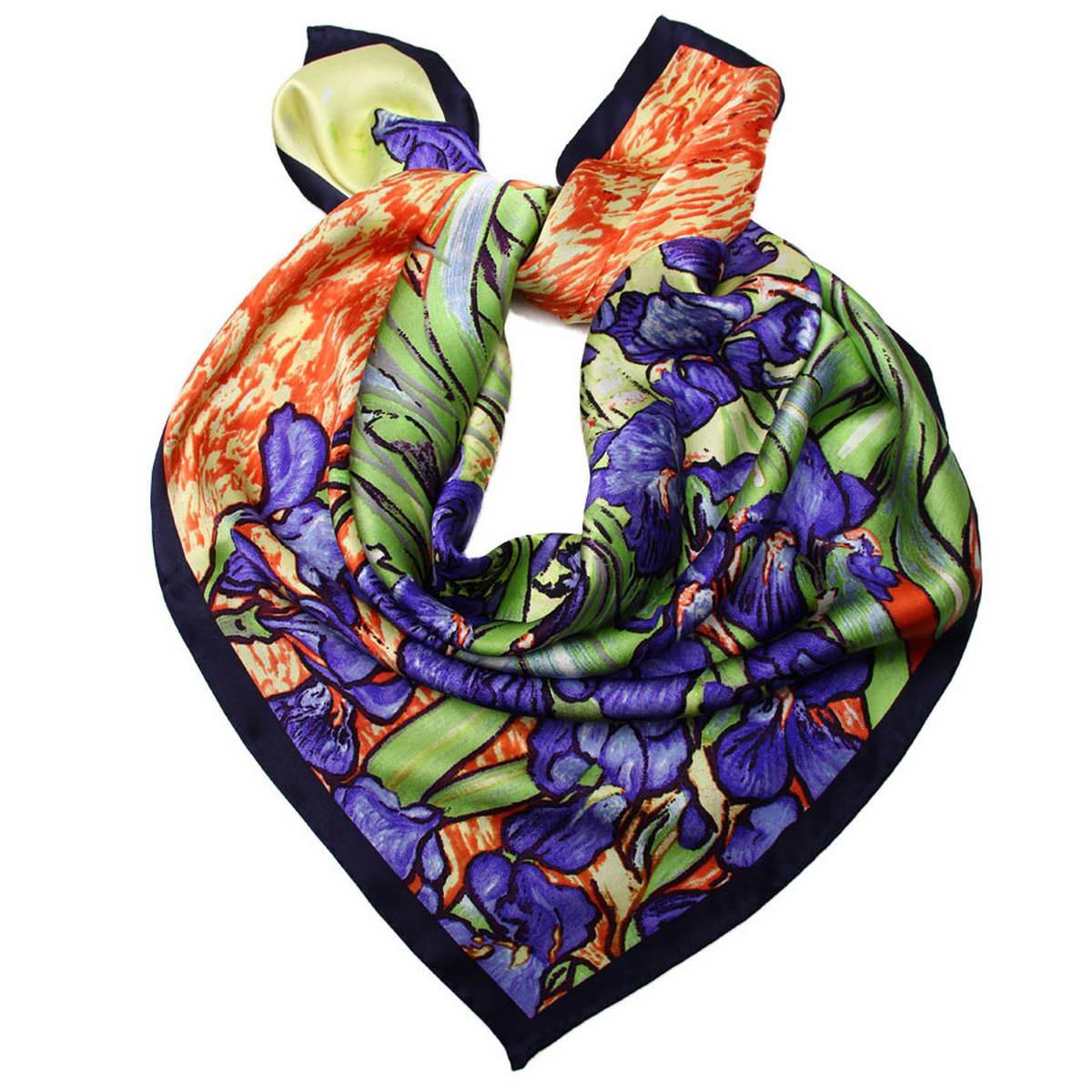 Платок женский Venera, цвет: зеленый, фиолетовый, красный. 1810912-12. Размер 90 см х 90 см1810912-12Стильный женский платок Venera станет великолепным завершением любого наряда. Платок, изготовленный из 100% шелка, оформлен изображением картины Винсента Ван Гога Ирисы. Классическая квадратная форма позволяет носить платок на шее, украшать им прическу или декорировать сумочку. Легкий и приятный на ощупь платок поможет вам создать изысканный женственный образ. Такой платок превосходно дополнит любой наряд и подчеркнет ваш неповторимый вкус и элегантность.
