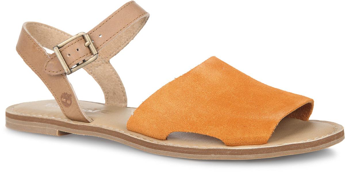 Сандалии женские Timberland Sheafe Y-Strap Sandal, цвет: оранжевый, коричневый. TBLA14W4M. Размер 8 (38)TBLA14W4MМодные сандалии Sheafe Y-Strap Sandal от Timberland не оставят вас равнодушной! Модель изготовлена из натуральной кожи. Ремешок с металлической пряжкой позволит прочно зафиксировать обувь на вашей ножке. Стелька из натуральной кожи, оформленная названием бренда и крупной прострочкой, комфортна при движении. Подошва обеспечивает идеальное сцепление с любой поверхностью. Стильные сандалии помогут вам создать неповторимый образ.