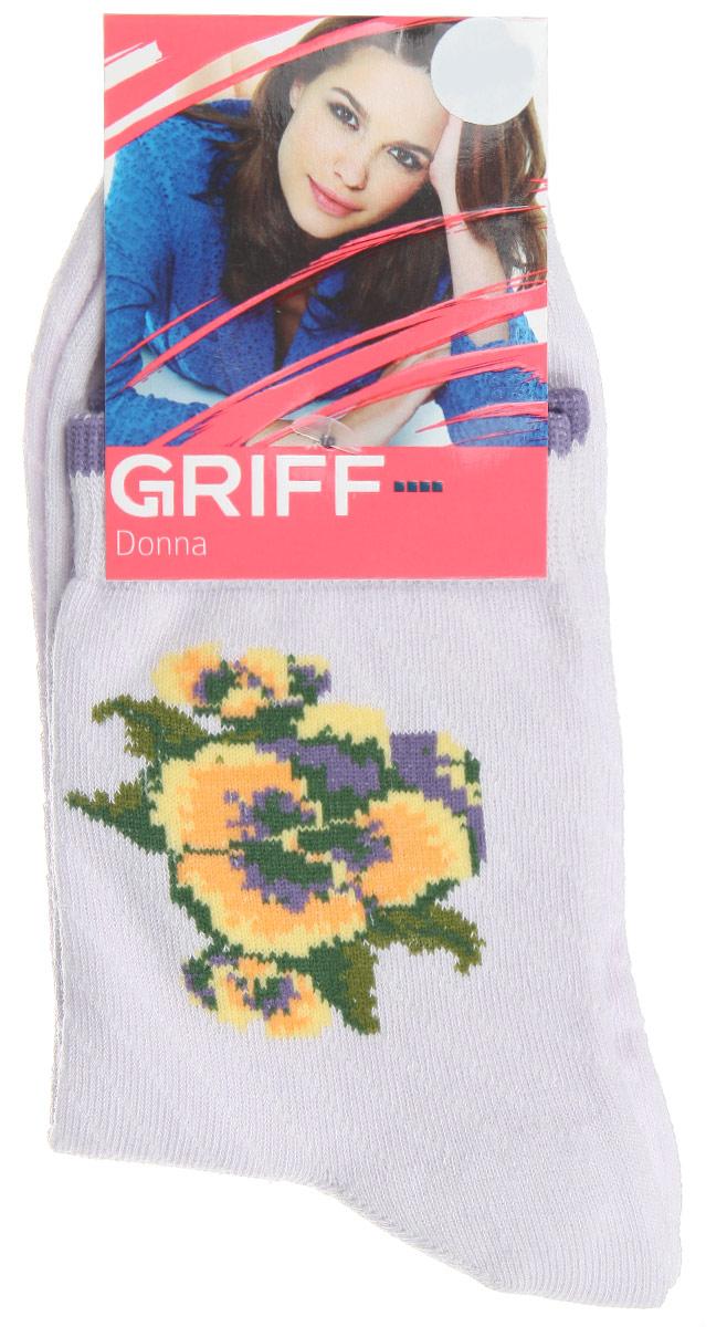 Носки женские Griff Цветок, цвет: светло-лиловый. D252. Размер 35/38D252Женские носки Griff Цветок изготовлены из высококачественного сырья. Носки очень мягкие на ощупь, а широкая резинка плотно облегает ногу, не сдавливая ее, благодаря чему вам будет комфортно и удобно. Усиленная пятка и мысок обеспечивают надежность и долговечность.Носки на паголенке оформлены рисунком в виде розы.