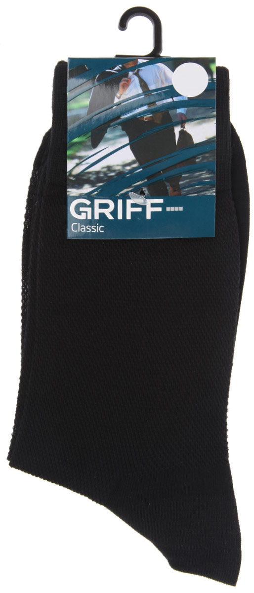 Носки мужские Griff Classic, цвет: черный. B35. Размер 45/47B35Мужские носки Griff Classic, вывязанные техникой платировки, изготовлены из высококачественного сырья с добавлением полиамидных волокон, которые обеспечивают великолепную посадку. Носки отличаются элегантным внешним видом. Удобная широкая резинка идеально облегает ногу и не пережимает сосуды, усиленные пятка и мысок повышают износоустойчивость носка, а удлиненный паголенок придает более эстетичный вид.