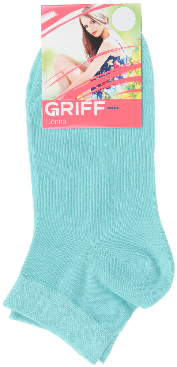 Носки женские Griff Donna, цвет: голубой. D4U3. Размер 35/38D4U3Женские укороченные носки Griff изготовлены из высококачественного сырья. Однотонные носки очень мягкие на ощупь, а широкая резинка плотно облегает ногу, не сдавливая ее, благодаря чему вам будет комфортно и удобно. Усиленная пятка и мысок обеспечивают надежность и долговечность.