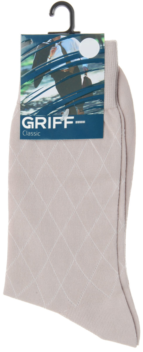 Носки мужские Griff Classic, цвет: светло-серый. A5. Размер 42/44A5Мужские носки Griff Classic изготовлены из высококачественного сырья с добавлением полиамидных волокон, которые обеспечивают великолепную посадку. Носки отличаются элегантным внешним видом. Удобная широкая резинка идеально облегает ногу и не пережимает сосуды, усиленные пятка и мысок повышают износоустойчивость носка, а удлиненный паголенок придает более эстетичный вид.