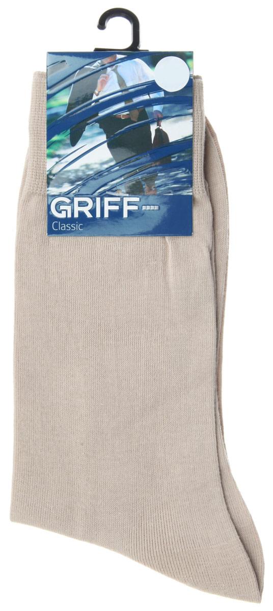 Носки мужские Griff Classic, цвет: бежевый. A1. Размер 39/41A1Мужские носки Griff Classic изготовлены из высококачественного сырья с добавлением полиамидных волокон, которые обеспечивают великолепную посадку. Носки отличаются элегантным внешним видом. Удобная широкая резинка идеально облегает ногу и не пережимает сосуды, усиленные пятка и мысок повышают износоустойчивость носка, а удлиненный паголенок придает более эстетичный вид.