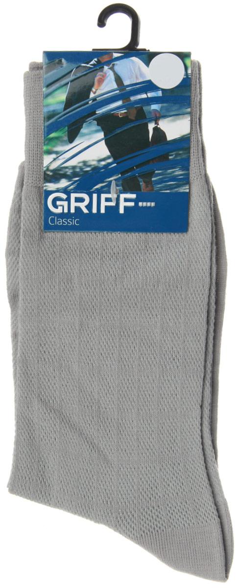 Носки мужские Griff Classic, цвет: серый. A21. Размер 42/44A21Мужские носки Griff Classic, вывязанные техникой платировки, изготовлены из высококачественного сырья с добавлением полиамидных волокон, которые обеспечивают великолепную посадку. Носки отличаются элегантным внешним видом. Удобная широкая резинка идеально облегает ногу и не пережимает сосуды, усиленные пятка и мысок повышают износоустойчивость носка, а удлиненный паголенок придает более эстетичный вид.