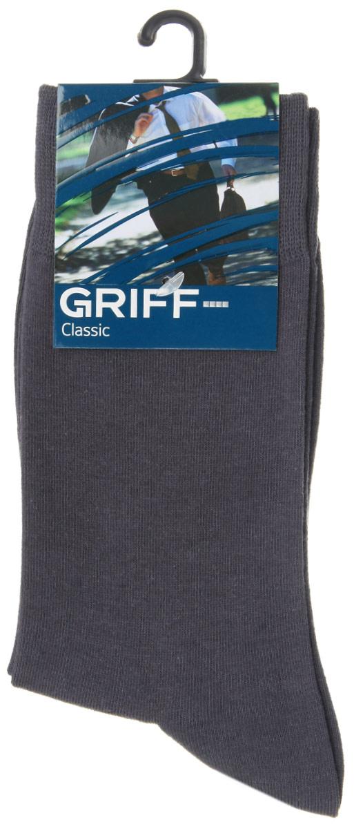 Носки мужские Griff Classic, цвет: темно-серый. A1. Размер 39/41A1Мужские носки Griff Classic изготовлены из высококачественного сырья с добавлением полиамидных волокон, которые обеспечивают великолепную посадку. Носки отличаются элегантным внешним видом. Удобная широкая резинка идеально облегает ногу и не пережимает сосуды, усиленные пятка и мысок повышают износоустойчивость носка, а удлиненный паголенок придает более эстетичный вид.