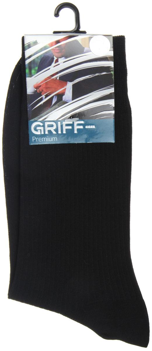 Носки мужские Griff Premium, цвет: черный. E4. Размер 42/44E4Мужские носки Griff Premium изготовлены из высококачественного сырья с добавлением полиамидных волокон, которые обеспечивают великолепную посадку. Носки отличаются элегантным внешним видом. Удобная широкая резинка идеально облегает ногу и не пережимает сосуды, усиленные пятка и мысок повышают износоустойчивость носка, а удлиненный паголенок придает более эстетичный вид.