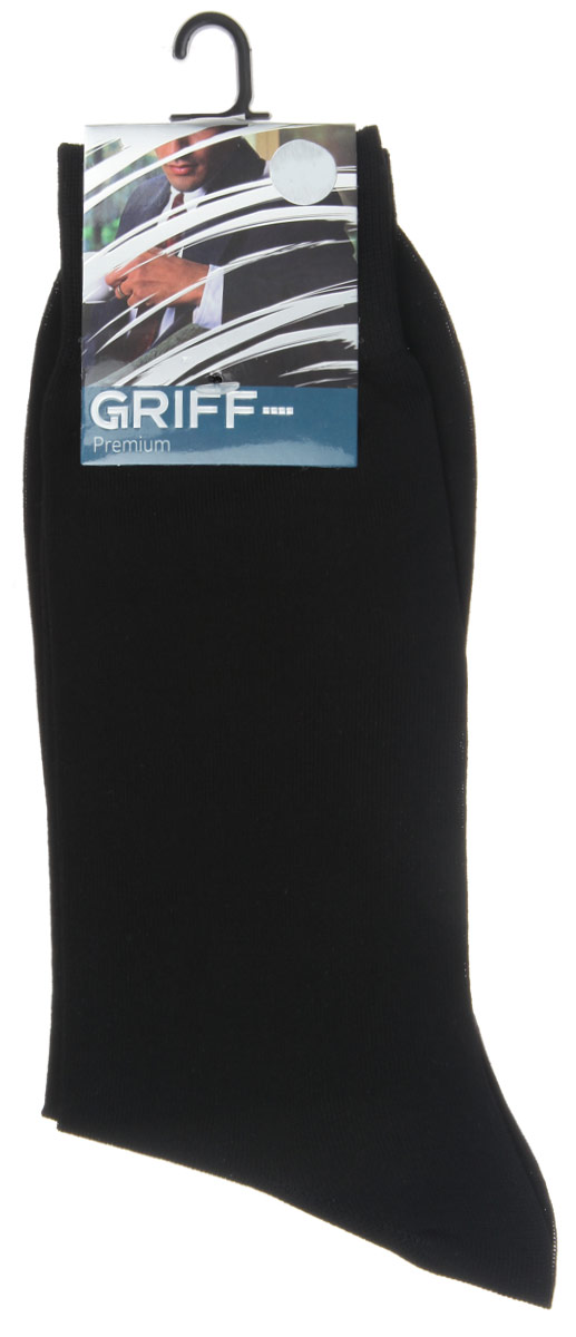 Носки мужские Griff Premium, цвет: черный. E1. Размер 42/44E1Мужские носки Griff Premium изготовлены из высококачественного сырья с добавлением полиамидных волокон, которые обеспечивают великолепную посадку. Носки отличаются элегантным внешним видом. Удобная широкая резинка идеально облегает ногу и не пережимает сосуды, усиленные пятка и мысок повышают износоустойчивость носка, а удлиненный паголенок придает более эстетичный вид.