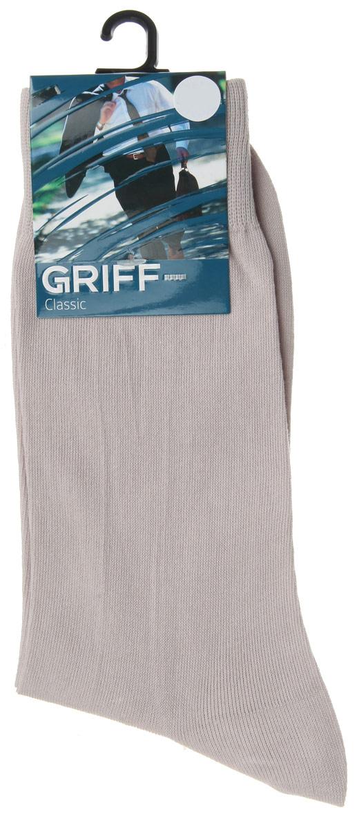 Носки мужские Griff Classic, цвет: светло-серый. A1. Размер 42/44A1Мужские носки Griff Classic изготовлены из высококачественного сырья с добавлением полиамидных волокон, которые обеспечивают великолепную посадку. Носки отличаются элегантным внешним видом. Удобная широкая резинка идеально облегает ногу и не пережимает сосуды, усиленные пятка и мысок повышают износоустойчивость носка, а удлиненный паголенок придает более эстетичный вид.