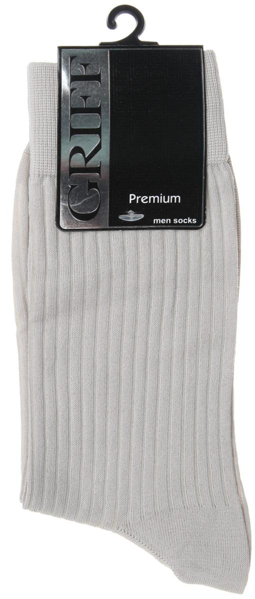 Носки мужские Griff Premium, цвет: светло-серый. E4. Размер 39/41E4Мужские носки Griff Premium изготовлены из высококачественного сырья с добавлением полиамидных волокон, которые обеспечивают великолепную посадку. Носки отличаются элегантным внешним видом. Удобная широкая резинка идеально облегает ногу и не пережимает сосуды, усиленные пятка и мысок повышают износоустойчивость носка, а удлиненный паголенок придает более эстетичный вид.