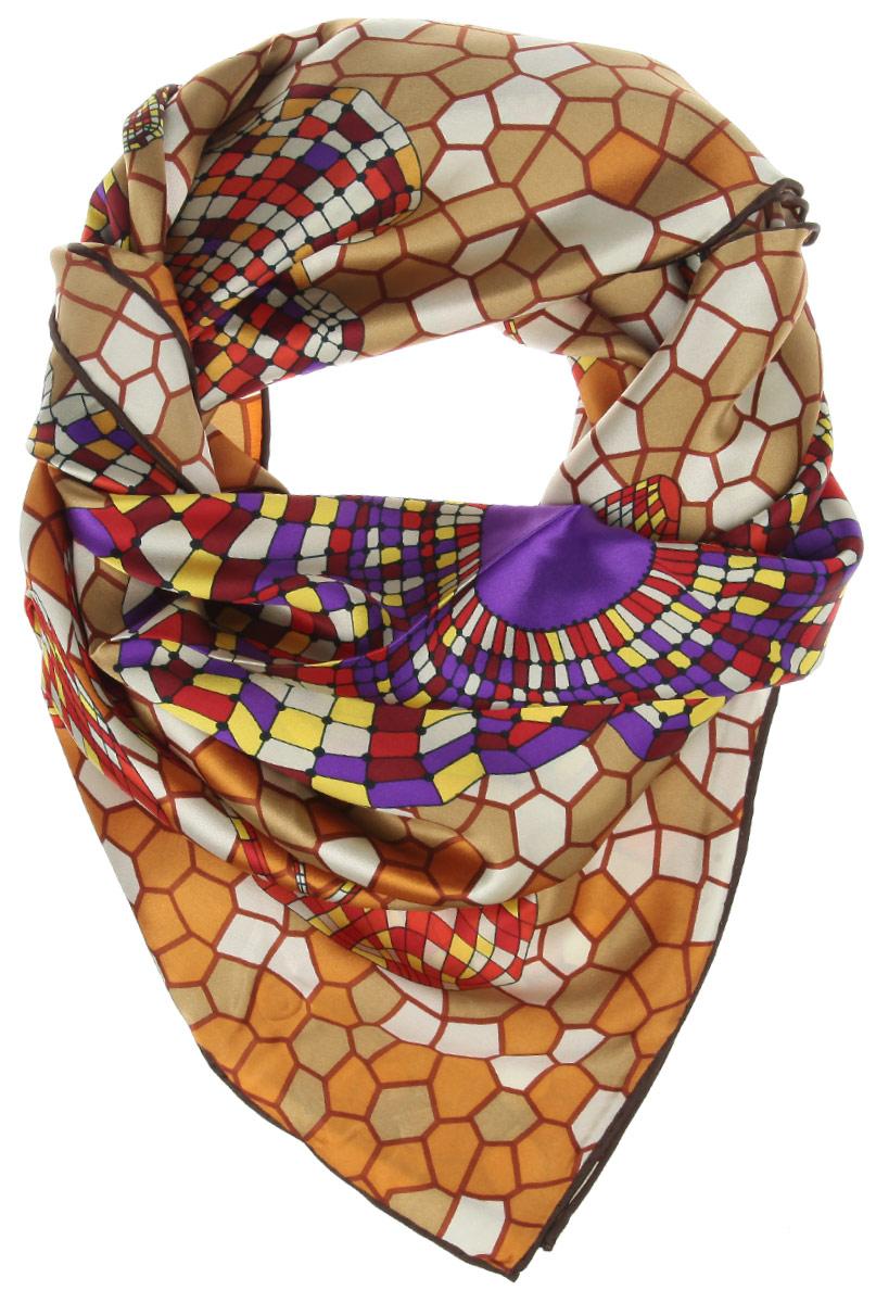 Платок женский Moltini, цвет: мультиколор. 21611-1O. Размер 90 см х 90 см21611-1OСтильный женский платок Moltini станет великолепным завершением любого наряда. Платок изготовлен из 100% шелка, оформлен оригинальным принтом, края обработаны кантом. Классическая квадратная форма позволяет носить платок на шее, украшать им прическу или декорировать сумочку.Такой платок превосходно дополнит любой наряд и подчеркнет ваш неповторимый вкус и элегантность.
