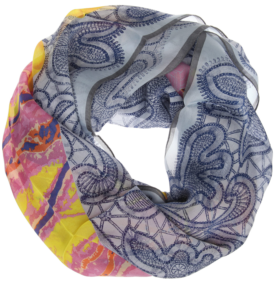 Платок женский Moltini, цвет: серо-голубой, темно-синий, розовый. 216112-1I. Размер 120 см х 120 см216112-1IСтильный женский платок Moltini станет великолепным завершением любого наряда. Платок изготовлен из 100% шелка и оформлен оригинальным орнаментом. Классическая квадратная форма позволяет носить платок на шее, украшать им прическу или декорировать сумочку.Такой платок превосходно дополнит любой наряд и подчеркнет ваш неповторимый вкус и элегантность.