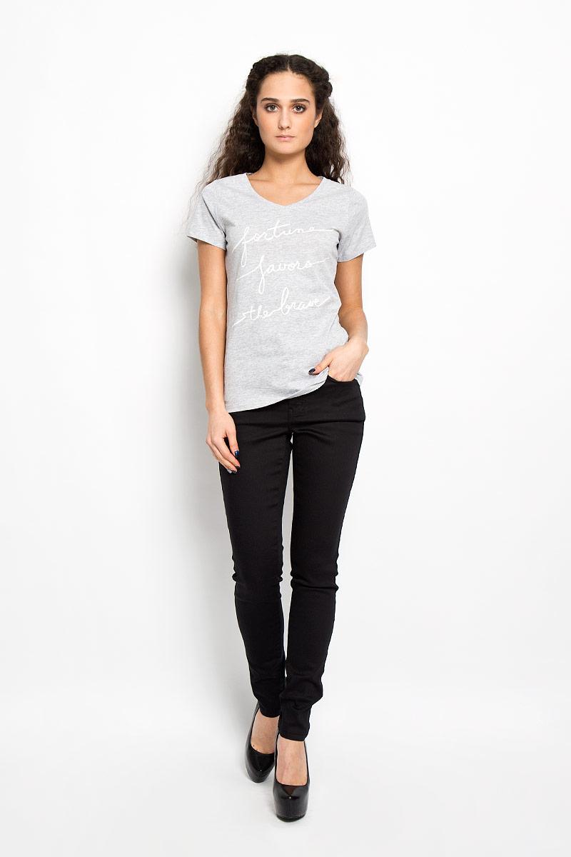 Футболка женская Broadway, цвет: серый меланж. 10156217 80B. Размер XL (50)10156217 80BСтильная женская футболка Broadway, изготовленная из хлопкас добавление вискозы, необычайно мягкая и приятная на ощупь, не сковывает движения, обеспечивая наибольший комфорт.Модель слегка приталенного кроя с V-образным вырезом горловины и короткими рукавами, оформлена оригинальной принтовой надписью на английском языке. Такая модель подарит вам комфорт в течение всего дня и послужит замечательным дополнением к вашему гардеробу.