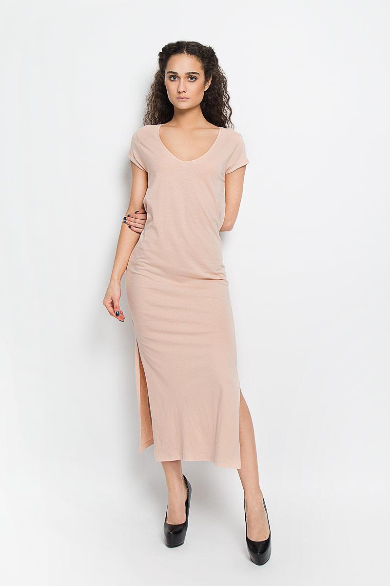 Платье Broadway, цвет: персиковый. 10156206_378. Размер S (44)10156206_378Модное платье Broadway поможет создать стильный образ. Платье выполнено из хлопка и вискозы, очень мягкое, приятное к телу, не сковывает движения и хорошо пропускает воздух. Модель с V-образным вырезом горловины и короткими рукавами дополнена по бокам двумя эффектными разрезами. На рукавах предусмотрены декоративные отвороты.Лаконичный дизайн и совершенство стиля подчеркнут вашу индивидуальность.