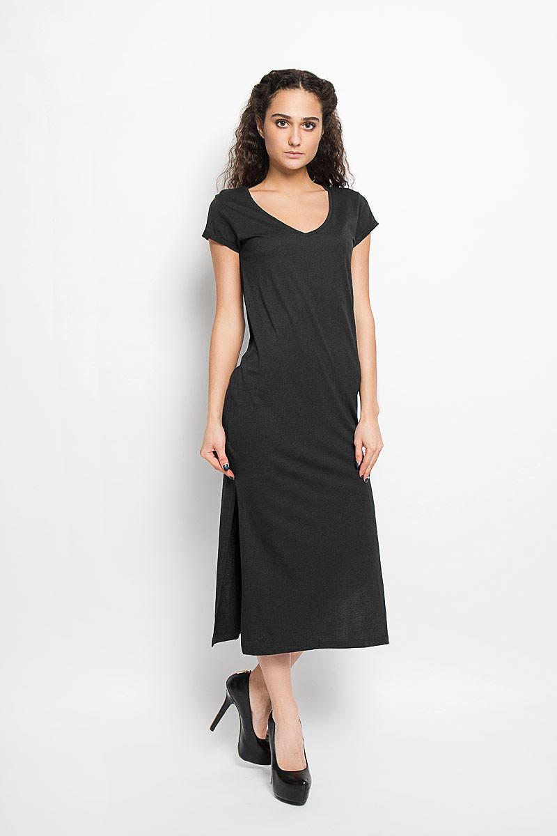 Платье Broadway, цвет: черный. 10156206_999. Размер XS (42)10156206_999Модное платье Broadway поможет создать стильный образ. Платье выполнено из хлопка и вискозы, очень мягкое, приятное к телу, не сковывает движения и хорошо пропускает воздух. Модель с V-образным вырезом горловины и короткими рукавами дополнена по бокам двумя эффектными разрезами. На рукавах предусмотрены декоративные отвороты.Лаконичный дизайн и совершенство стиля подчеркнут вашу индивидуальность.