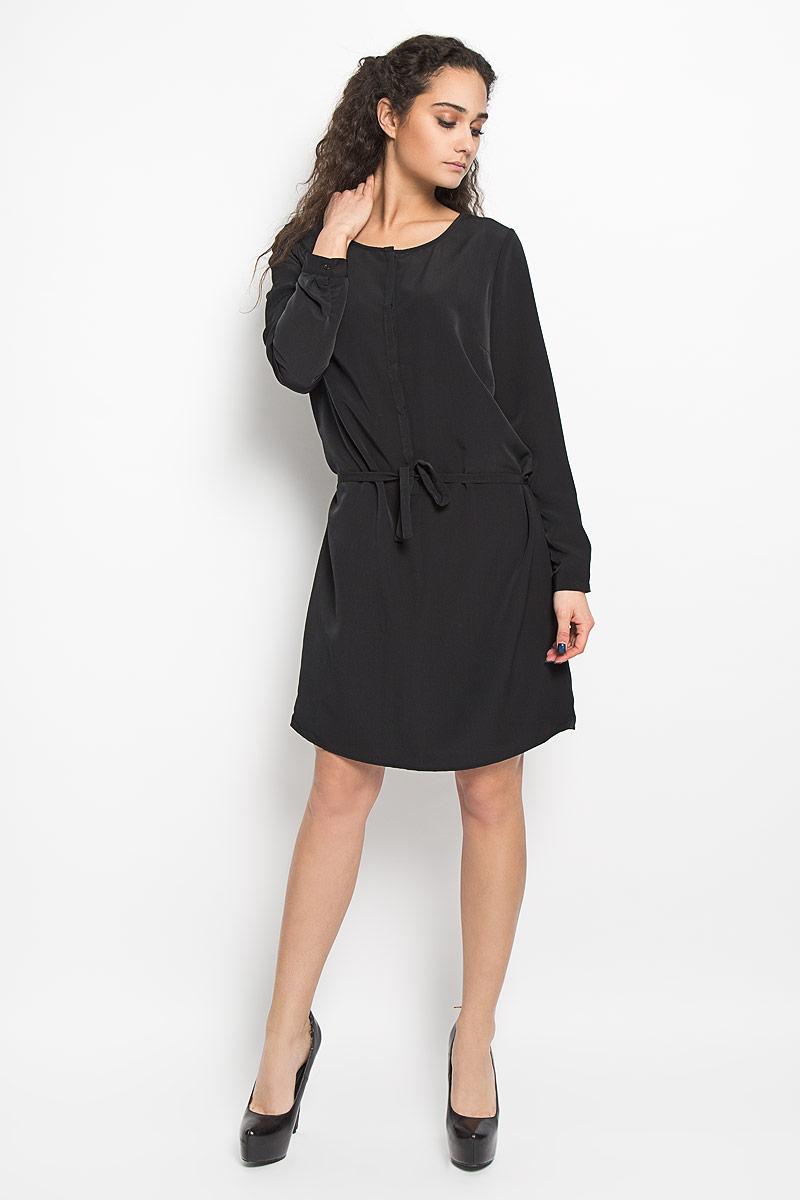 Платье Broadway, цвет: черный. 10156182_999. Размер M (46)10156182_999Стильное платье Broadway поможет создать оригинальный женственный образ. Платье на подкладке выполнено из полиэстера, приятное к телу, не сковывает движения и хорошо вентилируется. Модель с круглым вырезом горловины и длинными рукавами застегивается спереди на пуговицы, скрытые за планкой. Манжеты рукавов также имеют застежки-пуговицы. На талии платье дополнено тонким текстильным поясом. Лаконичный дизайн и совершенство стиля подчеркнут вашу индивидуальность.