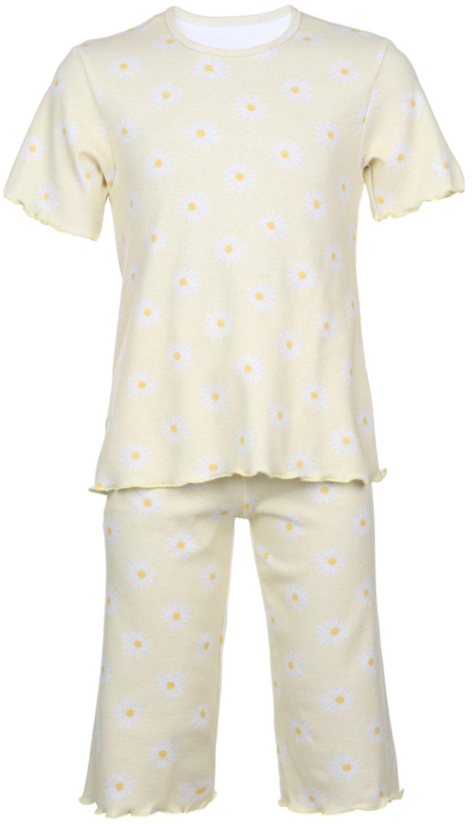 Пижама для девочки Трон-плюс, цвет: желтый, белый. 5581_ВЛ15_ромашки. Размер 110/116, 4-8 лет5581_ВЛ15_ромашкиОчаровательная пижама для девочки Трон-плюс, состоящая из футболки и удлиненных шорт, идеально подойдет ребенку для отдыха и сна. Модель выполнена из натурального хлопка, мягкая и приятная к телу, не сковывает движения, хорошо пропускает воздух и не раздражает нежную и чувствительную кожу ребенка. Футболка с короткими рукавами имеет круглый вырез горловины, оформленный бейкой. Удлиненные шорты на талии дополнены мягкой эластичной резинкой, благодаря чему они не сдавливают животик ребенка и не сползают. Пижама оформлена принтом с изображением ромашек по всей поверхности. Рукава, низ футболки и низ шорт имеют волнистые края, обработанные декоративным швом. В такой пижаме ваша маленькая принцесса будет чувствовать себя комфортно и уютно.