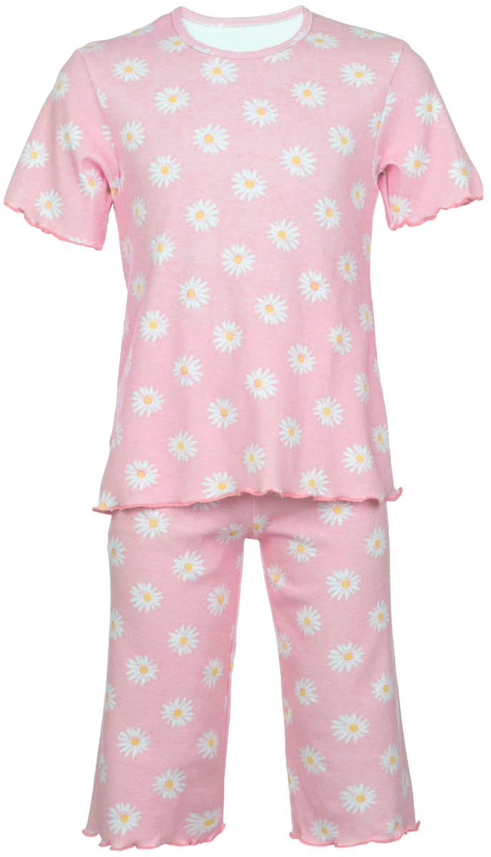 Пижама для девочки Трон-плюс, цвет: светло-розовый, белый, желтый. 5581_ВЛ15_ромашки. Размер 110/116, 4-8 лет5581_ВЛ15_ромашкиОчаровательная пижама для девочки Трон-плюс, состоящая из футболки и удлиненных шорт, идеально подойдет ребенку для отдыха и сна. Модель выполнена из натурального хлопка, мягкая и приятная к телу, не сковывает движения, хорошо пропускает воздух и не раздражает нежную и чувствительную кожу ребенка. Футболка с короткими рукавами имеет круглый вырез горловины, оформленный бейкой. Удлиненные шорты на талии дополнены мягкой эластичной резинкой, благодаря чему они не сдавливают животик ребенка и не сползают. Пижама оформлена принтом с изображением ромашек по всей поверхности. Рукава, низ футболки и низ шорт имеют волнистые края, обработанные декоративным швом. В такой пижаме ваша маленькая принцесса будет чувствовать себя комфортно и уютно.