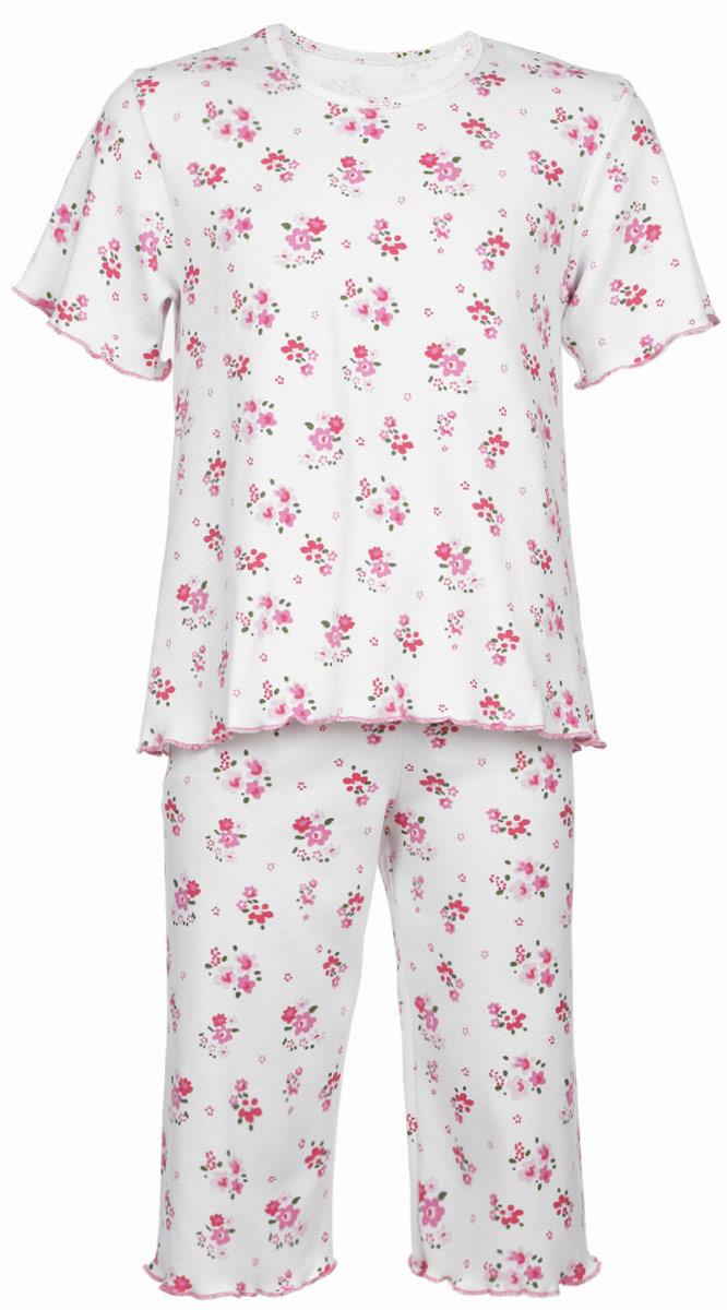 Пижама для девочки Трон-плюс, цвет: белый, розовый, зеленый. 5581_ОЗ14_цветы. Размер 122/128, 7-10 лет5581_ОЗ14_цветыОчаровательная пижама для девочки Трон-плюс, состоящая из футболки и удлиненных шорт, идеально подойдет ребенку для отдыха и сна. Модель выполнена из натурального хлопка, мягкая и приятная к телу, не сковывает движения, хорошо пропускает воздух и не раздражает нежную и чувствительную кожу ребенка. Футболка с короткими рукавами имеет круглый вырез горловины, оформленный бейкой. Удлиненные шорты на талии дополнены мягкой эластичной резинкой, благодаря чему они не сдавливают животик ребенка и не сползают. Пижама оформлена цветочным принтом по всей поверхности. Рукава, низ футболки и низ шорт имеют волнистые края, обработанные декоративным швом. В такой пижаме ваша маленькая принцесса будет чувствовать себя комфортно и уютно.