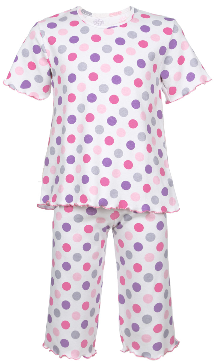Пижама для девочки Трон-плюс, цвет: белый, розовый, фиолетовый. 5581_ВЛ15_горох. Размер 80/86, 1-2 года5581_ВЛ15_горохОчаровательная пижама для девочки Трон-плюс, состоящая из футболки и удлиненных шорт, идеально подойдет ребенку для отдыха и сна. Модель выполнена из натурального хлопка, мягкая и приятная к телу, не сковывает движения, хорошо пропускает воздух и не раздражает нежную и чувствительную кожу ребенка. Футболка с короткими рукавами имеет круглый вырез горловины, оформленный бейкой. Удлиненные шорты на талии дополнены мягкой эластичной резинкой, благодаря чему они не сдавливают животик ребенка и не сползают. Пижама оформлена принтом в горох по всей поверхности. Рукава, низ футболки и низ шорт имеют волнистые края, обработанные декоративным швом. В такой пижаме ваша маленькая принцесса будет чувствовать себя комфортно и уютно.