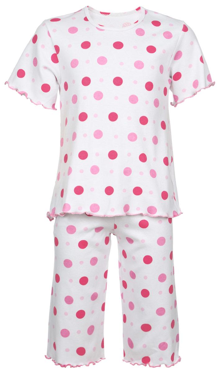 Пижама для девочки Трон-плюс, цвет: белый, розовый. 5581_ОЗ14_горох. Размер 98/104, 3-5 лет5581_ОЗ14_горохОчаровательная пижама для девочки Трон-плюс, состоящая из футболки и удлиненных шорт, идеально подойдет ребенку для отдыха и сна. Модель выполнена из натурального хлопка, мягкая и приятная к телу, не сковывает движения, хорошо пропускает воздух и не раздражает нежную и чувствительную кожу ребенка. Футболка с короткими рукавами имеет круглый вырез горловины, оформленный бейкой. Удлиненные шорты на талии дополнены мягкой эластичной резинкой, благодаря чему они не сдавливают животик ребенка и не сползают. Пижама оформлена принтом в горох по всей поверхности. Рукава, низ футболки и низ шорт имеют волнистые края, обработанные декоративным швом. В такой пижаме ваша маленькая принцесса будет чувствовать себя комфортно и уютно.