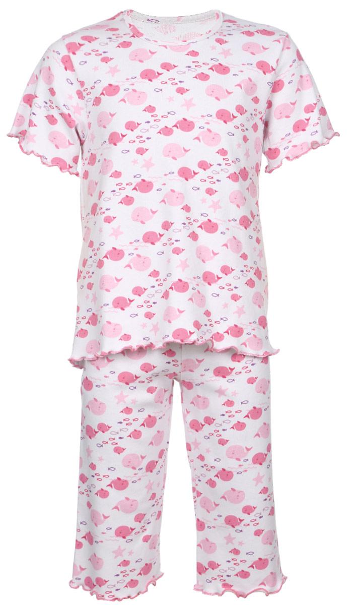 Пижама для девочки Трон-плюс, цвет: белый, розовый. 5581_ВЛ15_кит. Размер 110/116, 4-8 лет5581_ВЛ15_китОчаровательная пижама для девочки Трон-плюс, состоящая из футболки и удлиненных шорт, идеально подойдет ребенку для отдыха и сна. Модель выполнена из натурального хлопка, мягкая и приятная к телу, не сковывает движения, хорошо пропускает воздух и не раздражает нежную и чувствительную кожу ребенка. Футболка с короткими рукавами имеет круглый вырез горловины, оформленный бейкой. Удлиненные шорты на талии дополнены мягкой эластичной резинкой, благодаря чему они не сдавливают животик ребенка и не сползают. Пижама оформлена принтом на морскую тематику. Рукава, низ футболки и низ шорт имеют волнистые края, обработанные декоративным швом. В такой пижаме ваша маленькая принцесса будет чувствовать себя комфортно и уютно.