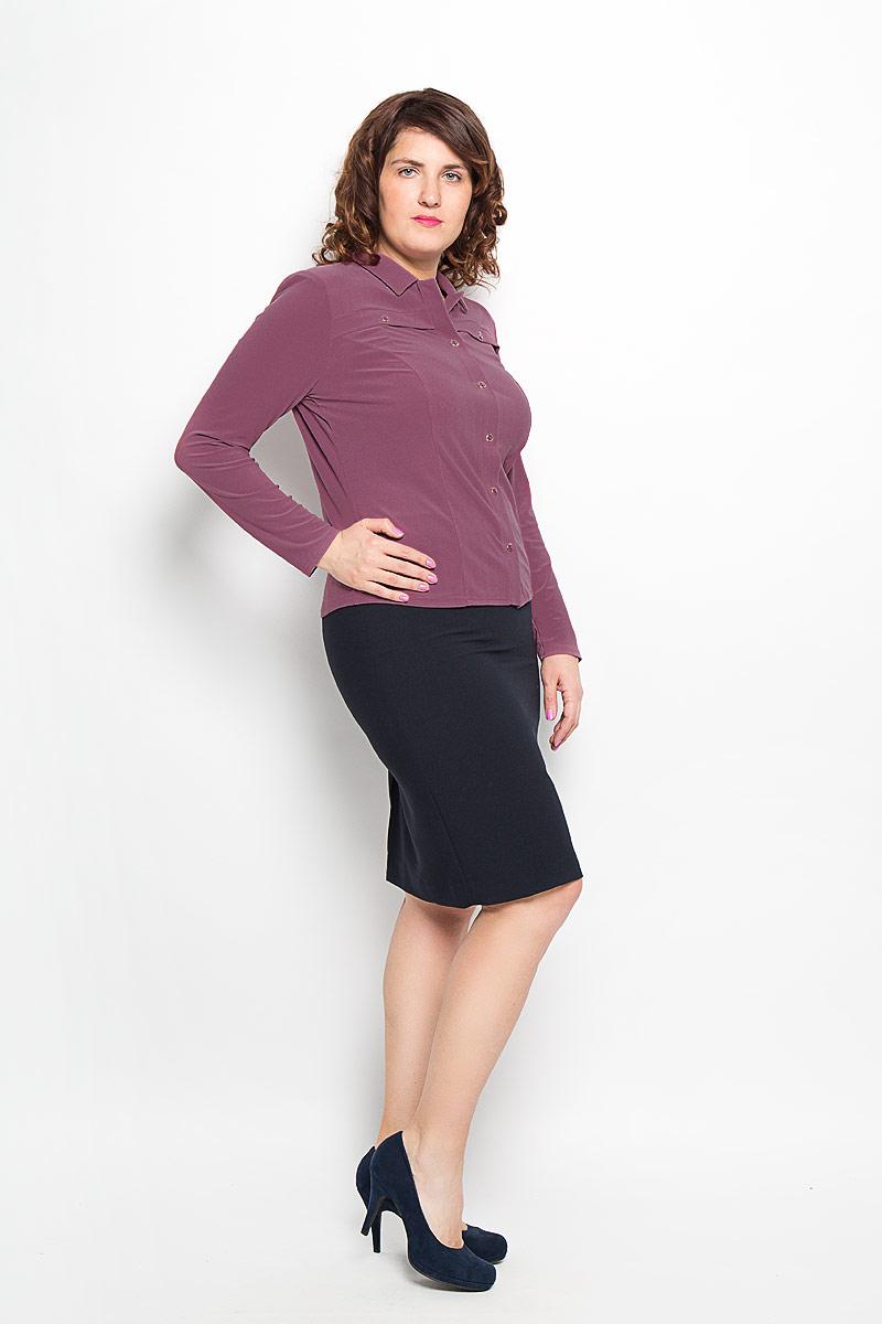 Блузка женская Milana Style, цвет: светло-сливовый. 882м. Размер 48882мСтильная женская блуза Milana Style, выполненная из высококачественного материала, подчеркнет ваш уникальный стиль и поможет создать оригинальный женственный образ.Блузка с отложным воротником и длинными рукавами застегивается спереди на пуговицы. На груди расположены горизонтальные декоративные планки с пуговицами. Изделие дополнено подплечниками.Такая блузка будет дарить вам комфорт в течение всего дня и послужит замечательным дополнением к вашему гардеробу.