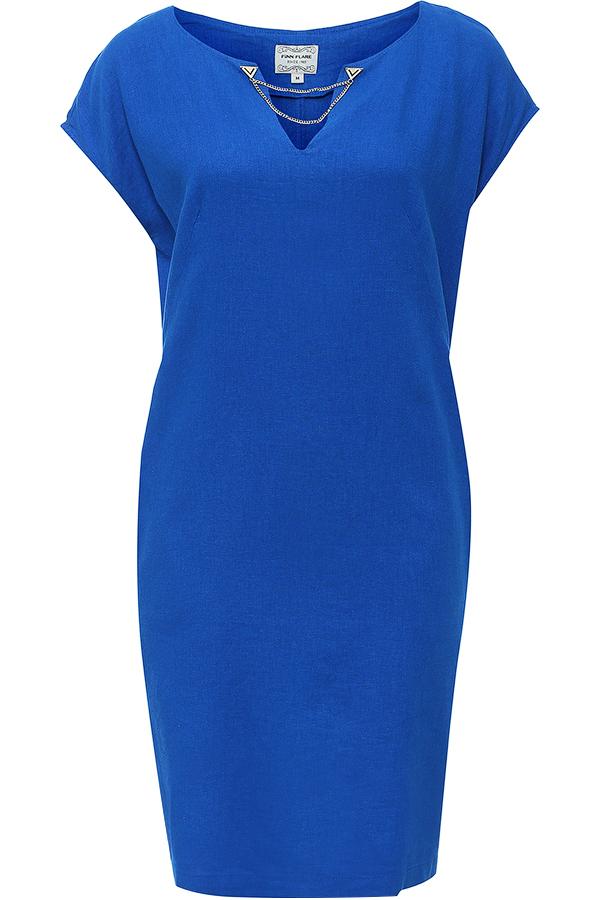 Платье Finn Flare, цвет: синий. S16-12069_132. Размер XXL (52)S16-12069_132Стильное платье-миди Finn Flare, выполненное из высококачественного лёгкого материала. Такое платье обеспечит вам комфорт и удобство при носке. Модель свободного кроя с цельнокроеным коротким рукавом и V-образным вырезом горловины дополнена боковыми прорезными карманами. На спинке предусмотрена шлица. Платье украшено металлической пластиной с логотипом бренда, а вырез горловины декорирован металлической цепочкой.Это модное и в то же время комфортное платье послужит отличным дополнением к вашему гардеробу. В нем вы всегда будете выглядеть обворожительно и неповторимо.
