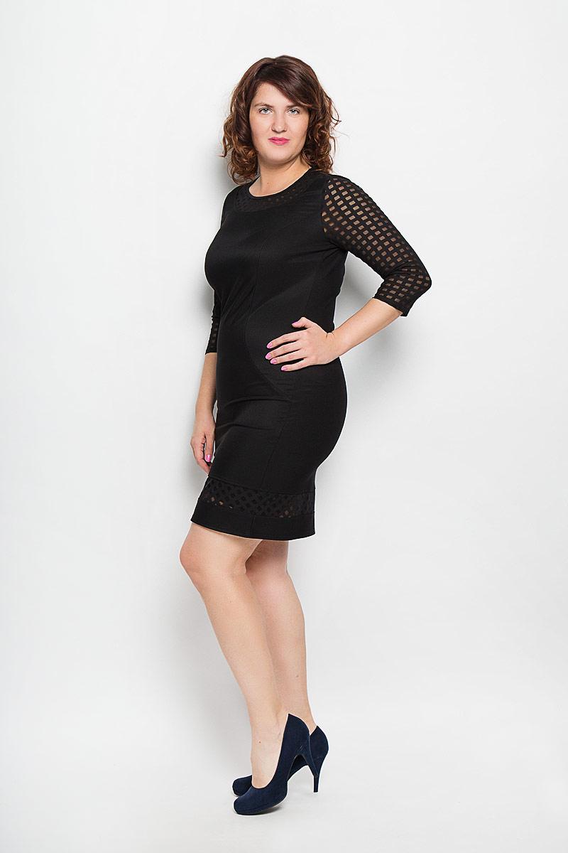 Платье Milana Style, цвет: черный. 837м. Размер 48837мЖенское платье Milana Style, изготовленное из высококачественного материала - находка для современной женщины, желающей выглядеть стильно и модно. Модель с круглым вырезом горловины и рукавами 3/4 оформлена вставками из полупрозрачного материала с геометрическим узором, рукава полностью оформлены этим материалом. Спереди платье дополнено вытачками. Такое платье несомненно вам понравится и послужит отличным дополнением к вашему гардеробу.