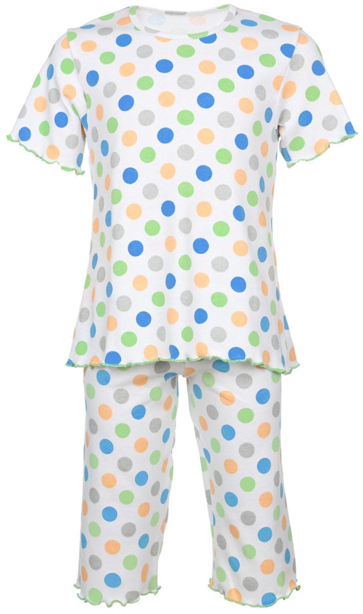 Пижама для девочки Трон-плюс, цвет: белый, светло-зеленый, оранжевый. 5581_ВЛ15_горох. Размер 122/128, 7-10 лет5581_ВЛ15_горохОчаровательная пижама для девочки Трон-плюс, состоящая из футболки и удлиненных шорт, идеально подойдет ребенку для отдыха и сна. Модель выполнена из натурального хлопка, мягкая и приятная к телу, не сковывает движения, хорошо пропускает воздух и не раздражает нежную и чувствительную кожу ребенка. Футболка с короткими рукавами имеет круглый вырез горловины, оформленный бейкой. Удлиненные шорты на талии дополнены мягкой эластичной резинкой, благодаря чему они не сдавливают животик ребенка и не сползают. Пижама оформлена принтом в горох по всей поверхности. Рукава, низ футболки и низ шорт имеют волнистые края, обработанные декоративным швом. В такой пижаме ваша маленькая принцесса будет чувствовать себя комфортно и уютно.